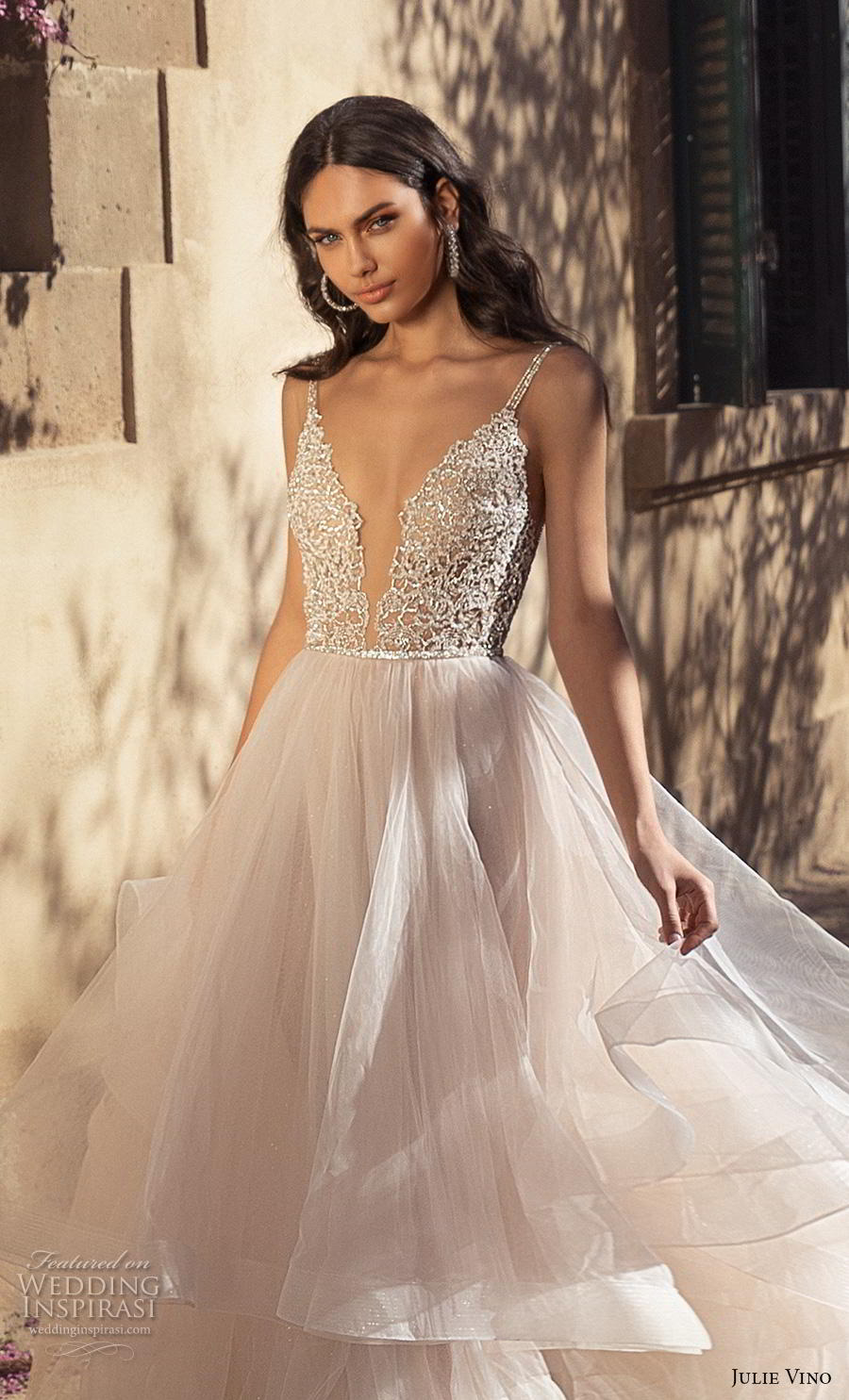 julie vino 2020 barcelona bridal sleeveless thin strap deep sweetheart neckline heavily embellished bodice tulle skirt romantic blush soft a  line wedding dress keyhole back royal train (2) zv