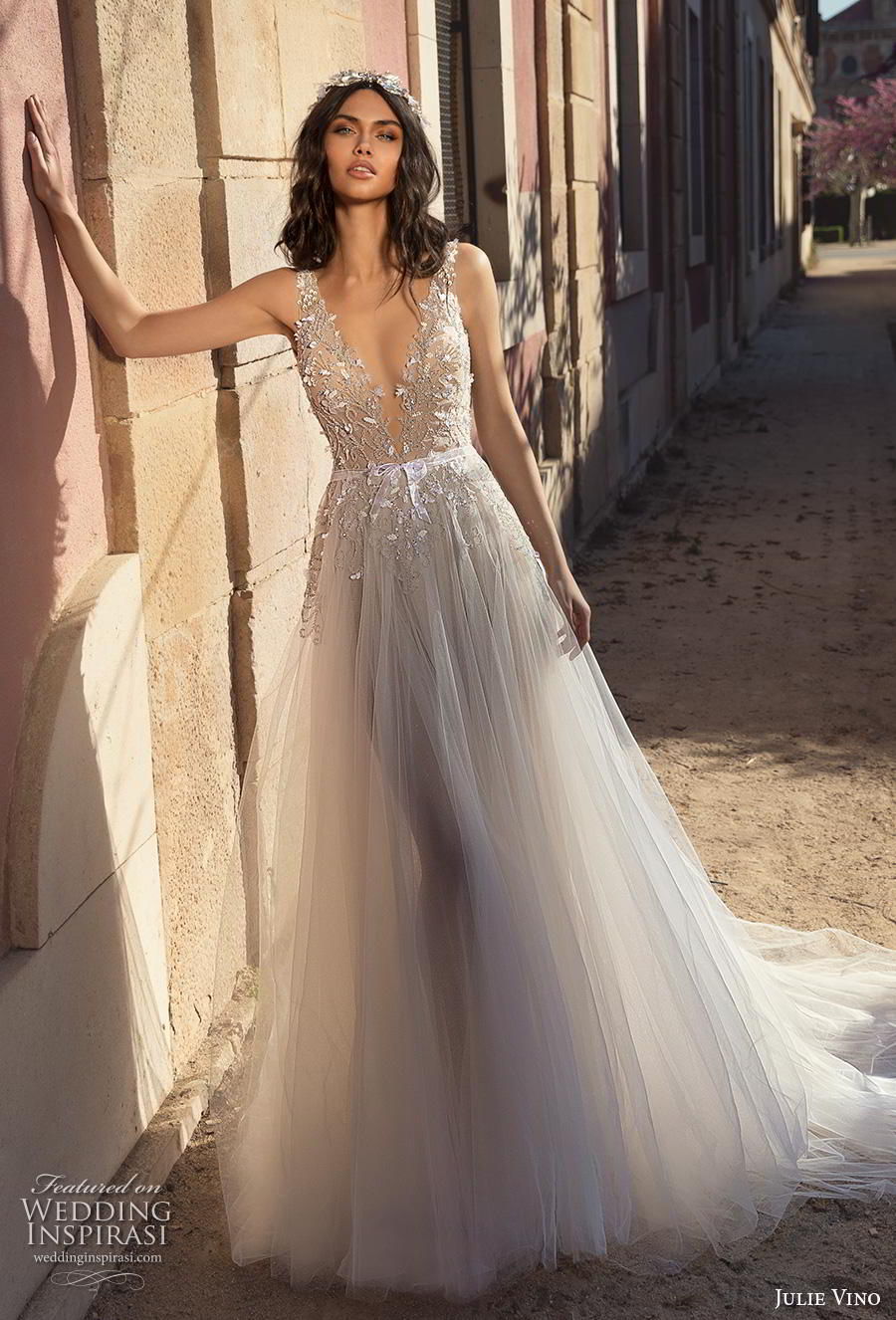 julie vino 2020 barcelona bridal sleeveless with strap deep v neck heavily embellished bodice tulle skirt romantic soft a  line wedding dress backless scoop back chapel train (1) mv