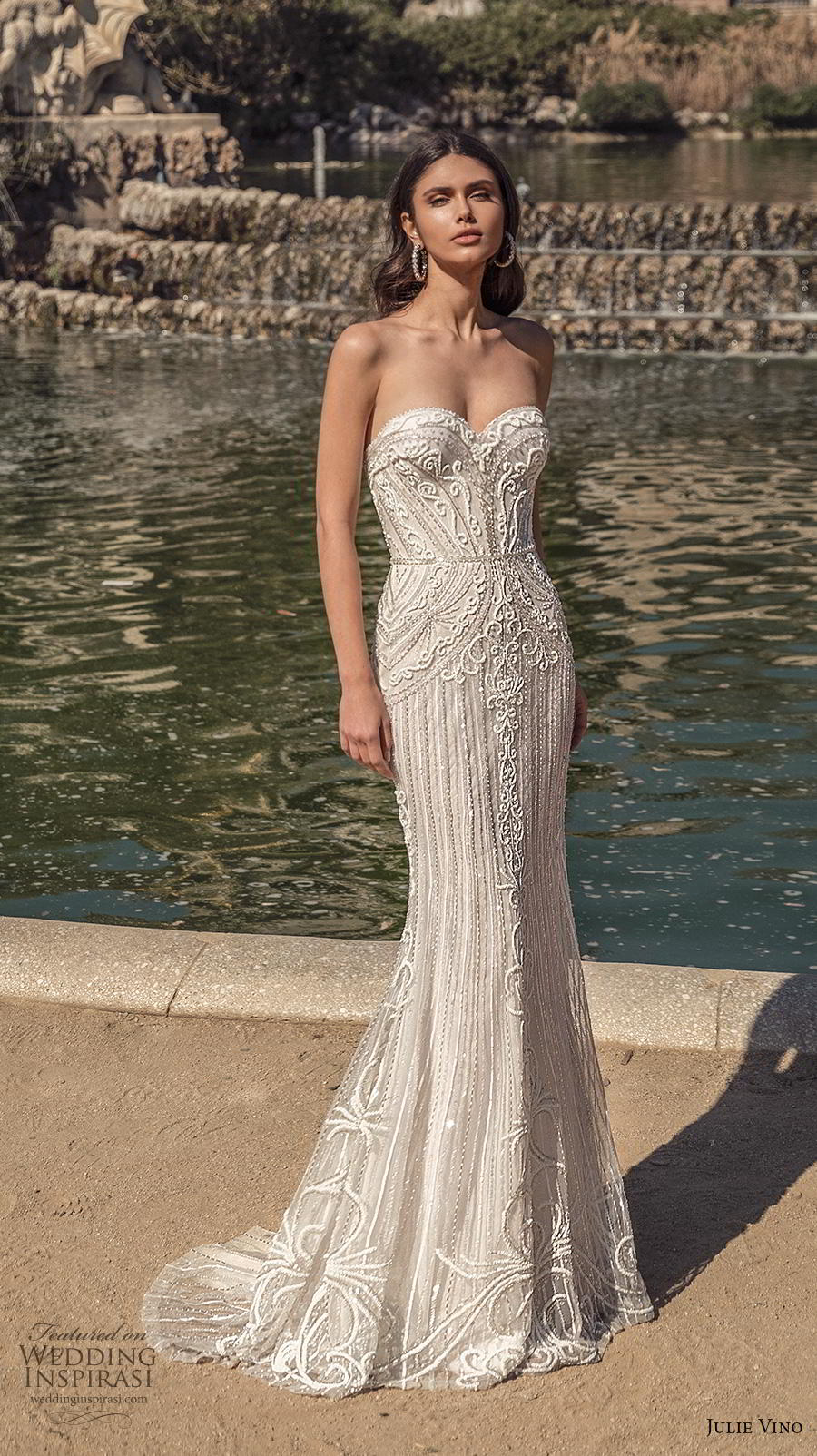 julie vino 2020 barcelona bridal strapless sweetheart neckline full embellishment elegant fit and flare wedding dress sweep train (9) mv