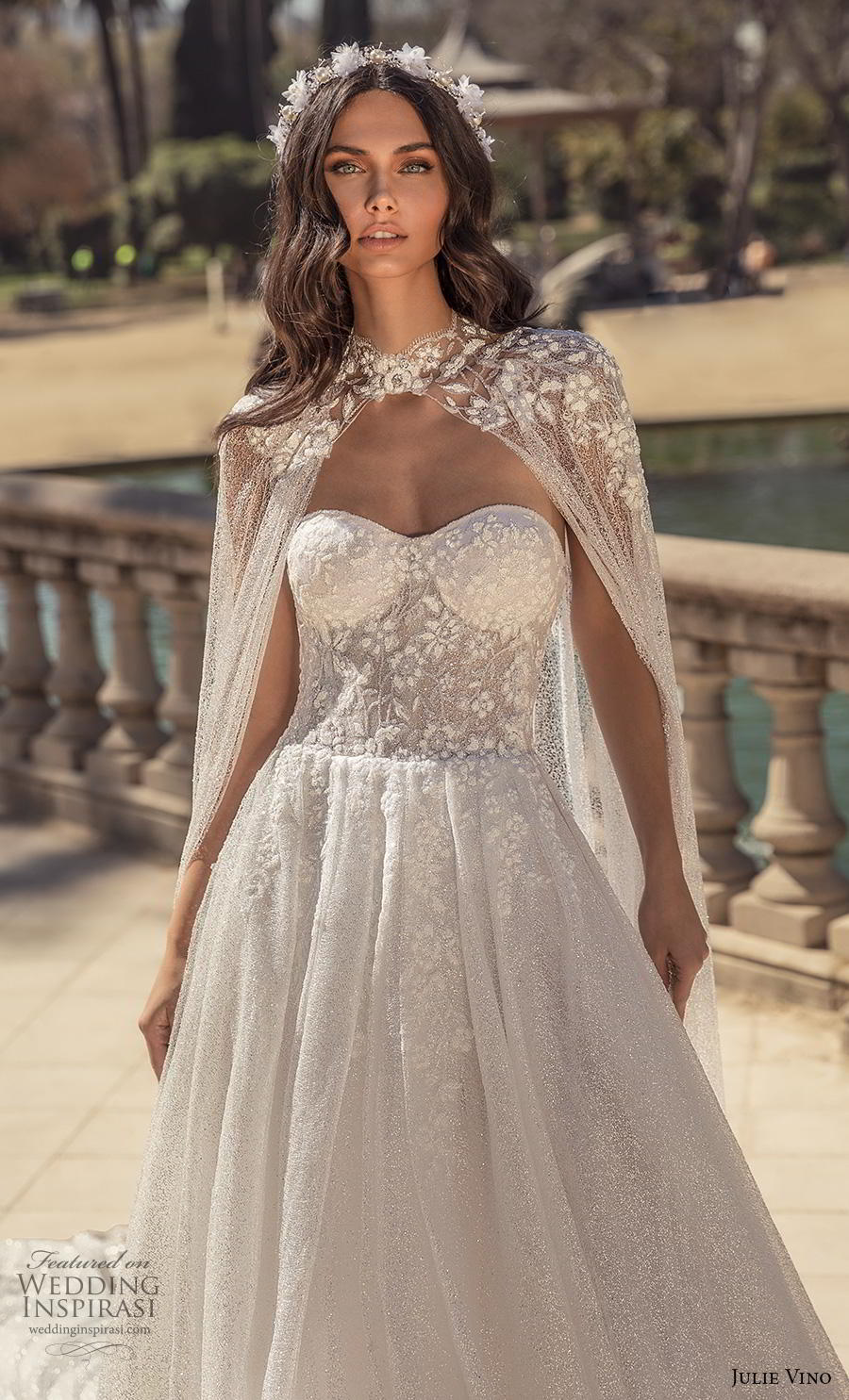 julie vino 2020 barcelona bridal strapless sweetheart neckline heavily embellished bodice bustier romantic a  line wedding dress with cape mid back royal train (8) zv