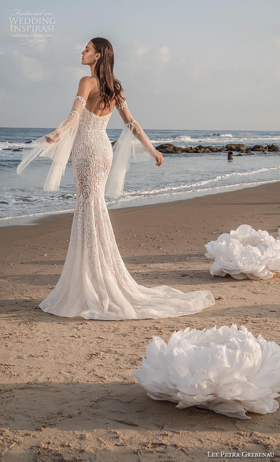 lee petra grebenau fall 2019 bridal deep plunging sweetheart neckline full embellishment sexy romantic fit and flare sheath wedding dress mid back short train (2) bv