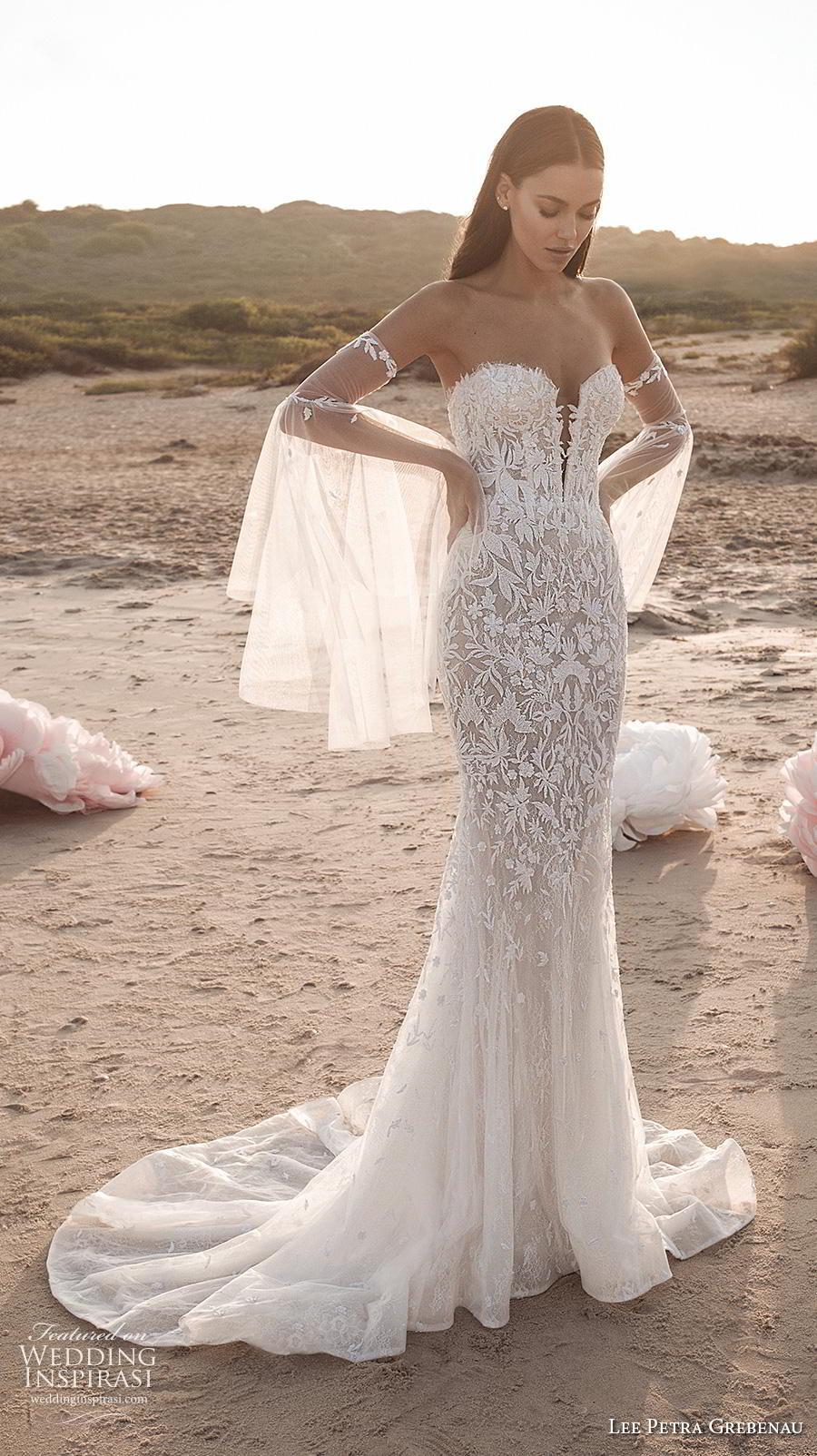 lee petra grebenau fall 2019 bridal deep plunging sweetheart neckline full embellishment sexy romantic fit and flare sheath wedding dress mid back short train (2) mv