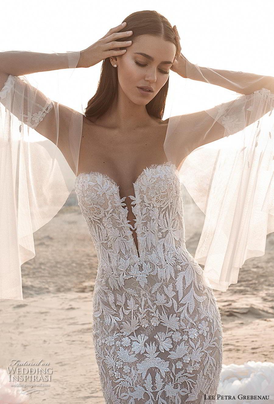 lee petra grebenau fall 2019 bridal deep plunging sweetheart neckline full embellishment sexy romantic fit and flare sheath wedding dress mid back short train (2) zv