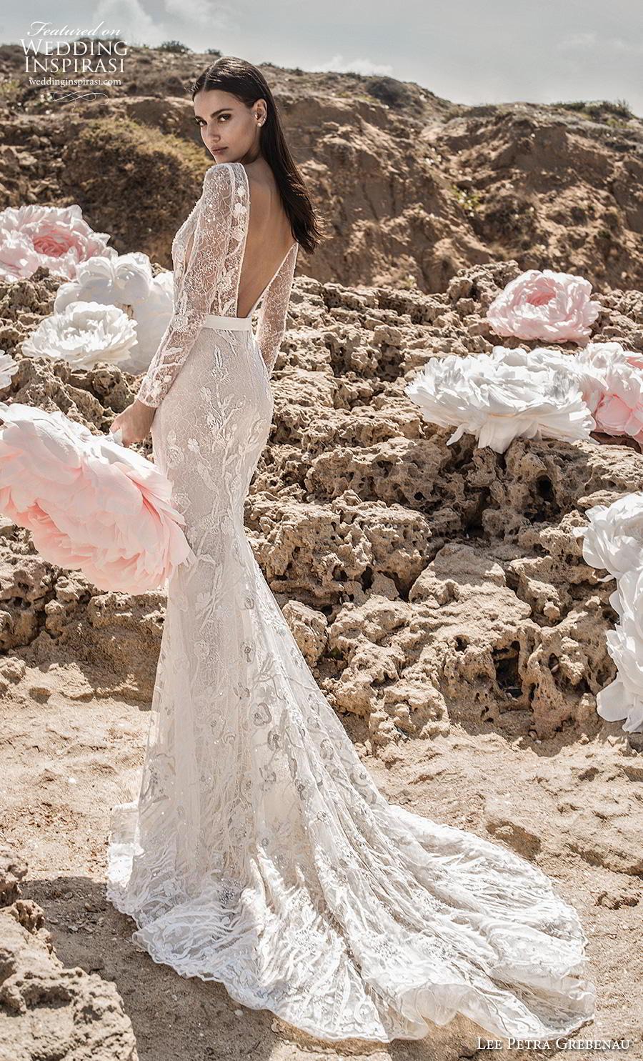 f35faa043a56 lee petra grebenau fall 2019 bridal long sleeves deep plunging v neck full  embellishment sexy modern