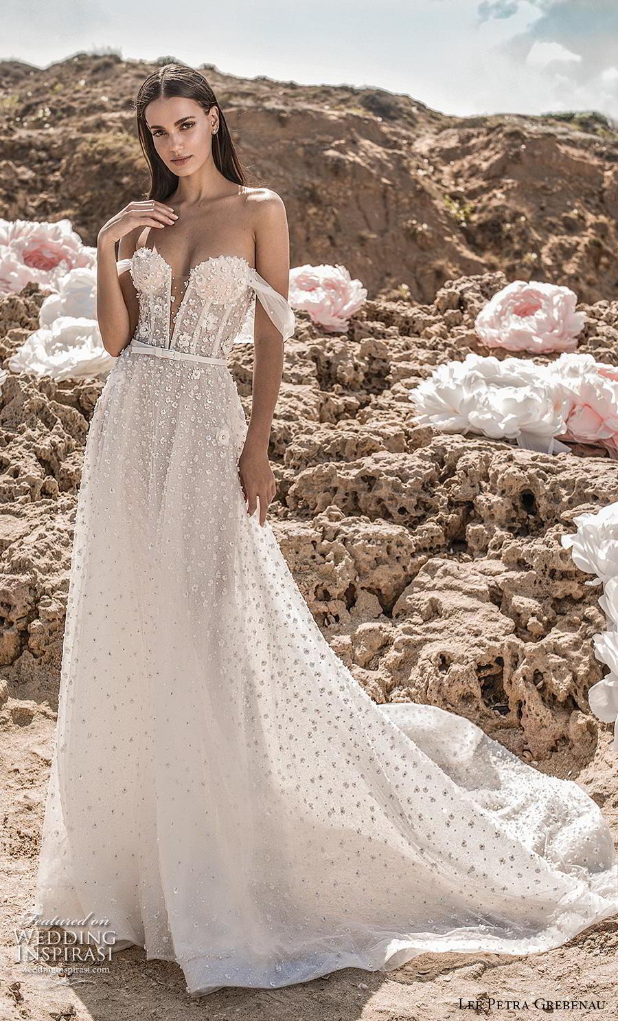 lee petra grebenau fall 2019 bridal off the shoulder deep plunging sweetheart neckline  full embellishment romantic a  line wedding dress backless chapel train (5) mv