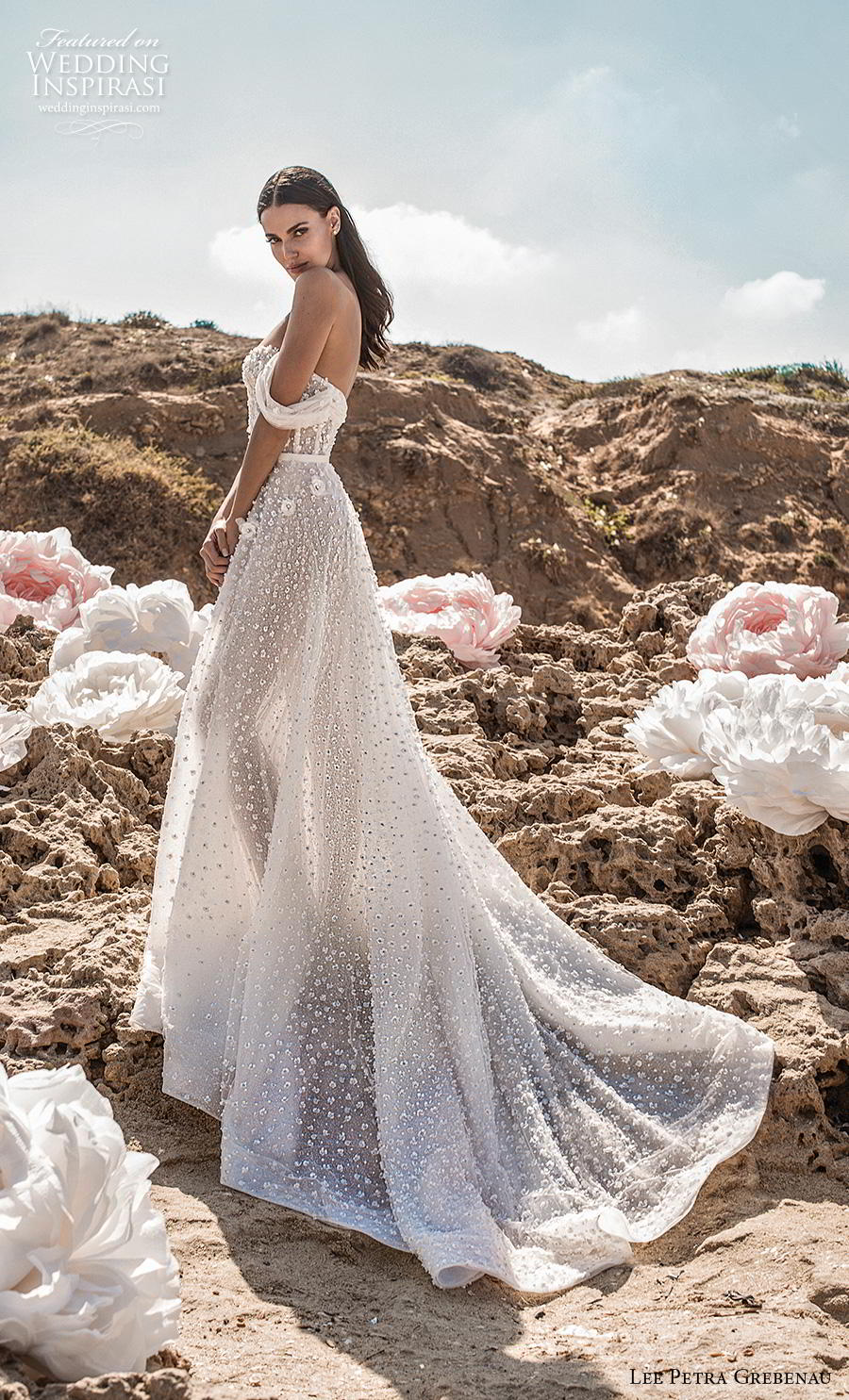 lee petra grebenau fall 2019 bridal off the shoulder deep plunging sweetheart neckline  full embellishment romantic a  line wedding dress backless chapel train (5) sdv
