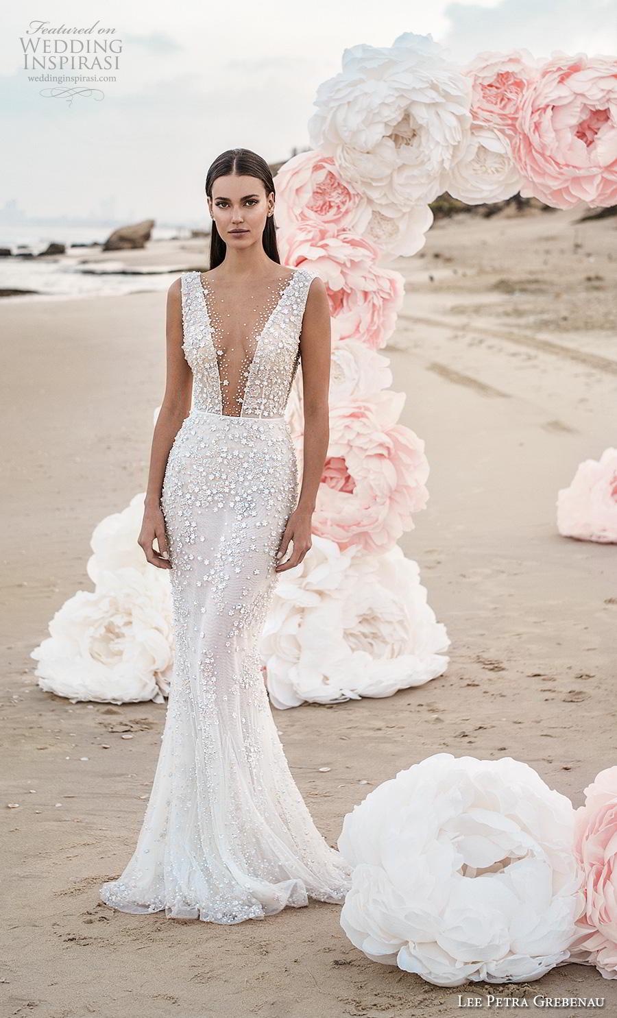 lee petra grebenau fall 2019 bridal sleeveless deep v neck full embellishment sexy elegant fit and flare sheath wedding dress backless low v back sweep train (1) mv