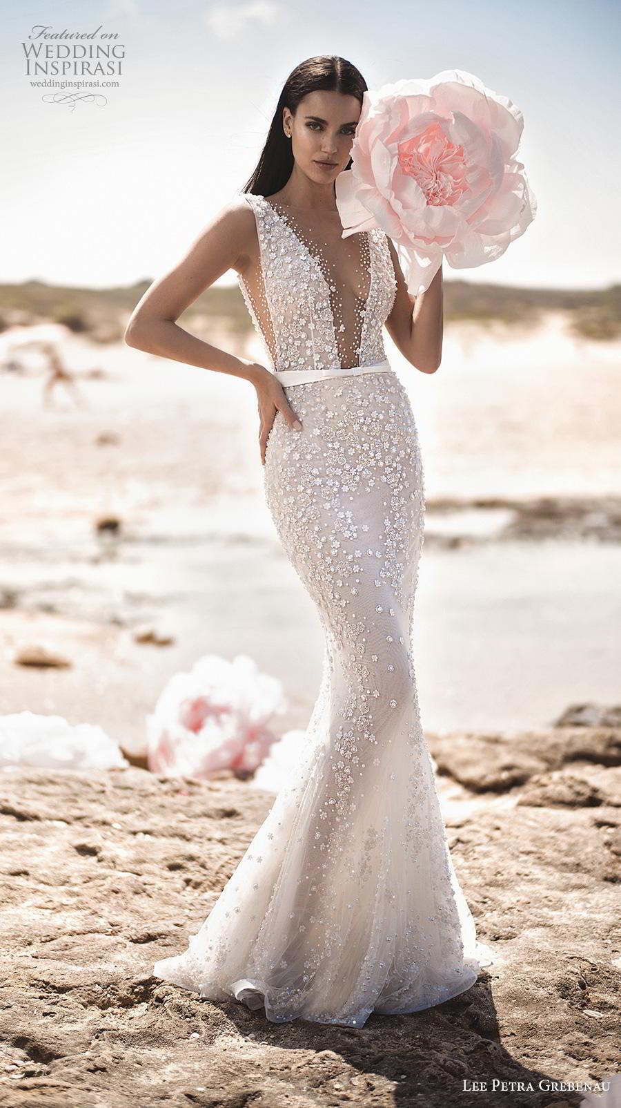 48a516413ac2 lee petra grebenau fall 2019 bridal sleeveless deep v neck full  embellishment sexy elegant fit and