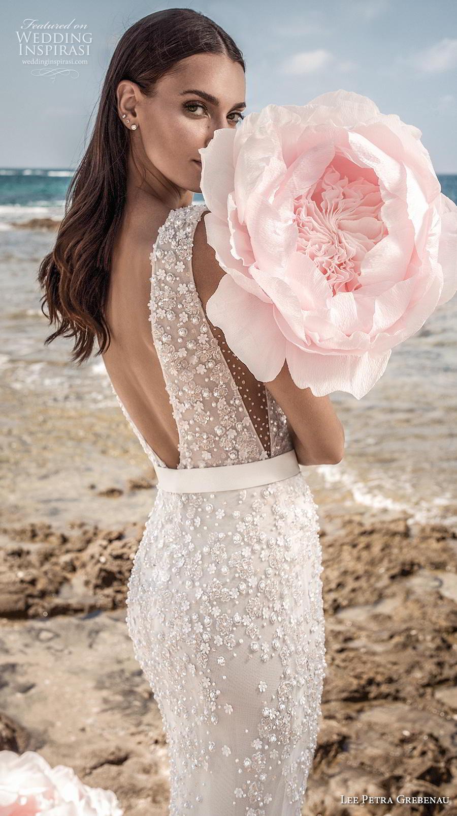 lee petra grebenau fall 2019 bridal sleeveless deep v neck full embellishment sexy elegant fit and flare sheath wedding dress backless low v back sweep train (1) zbv