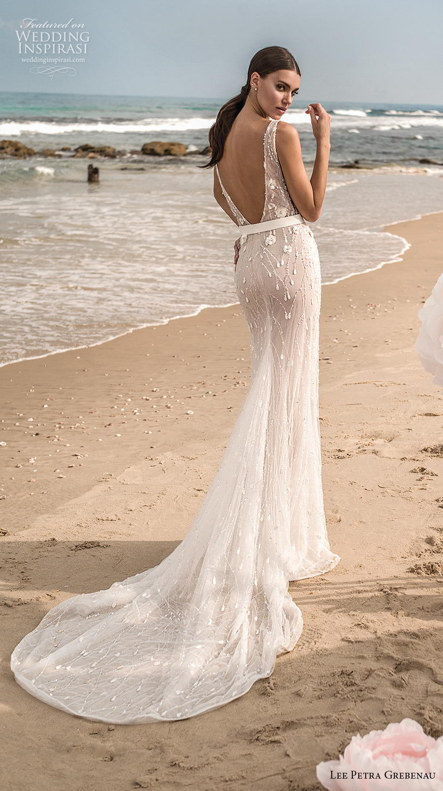 lee petra grebenau fall 2019 bridal sleeveless with strap deep v neck full embellishment slit skirt romantic fit and flare wedding dress low v back chapel train (6) bv