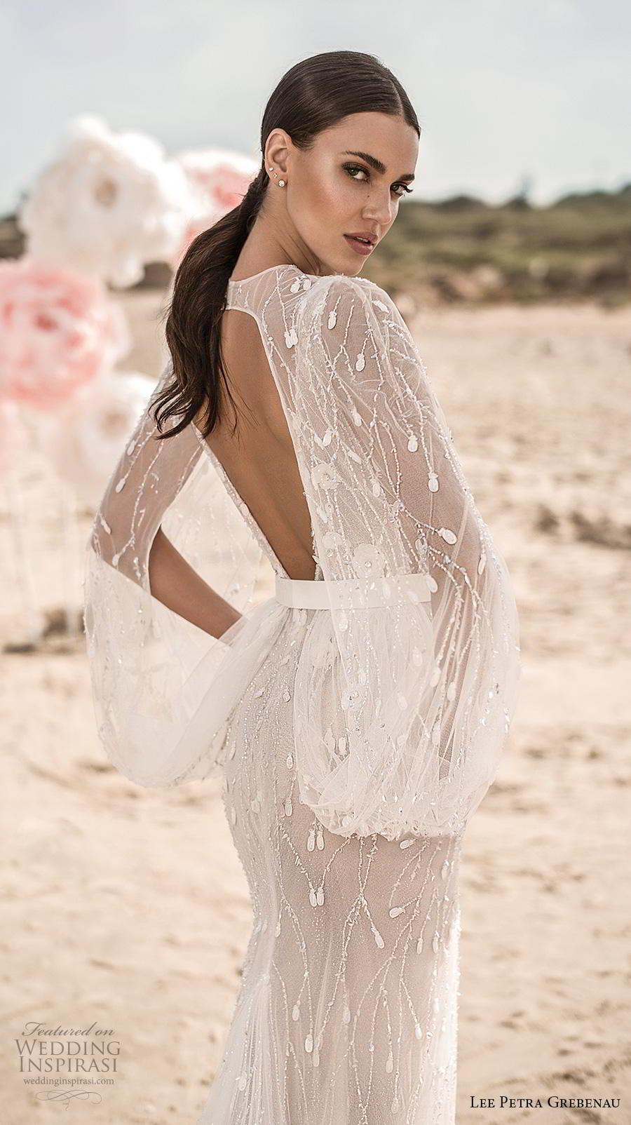 lee petra grebenau fall 2019 bridal sleeveless with strap deep v neck full embellishment slit skirt romantic fit and flare wedding dress wth capelet low v back chapel train (6) zbv