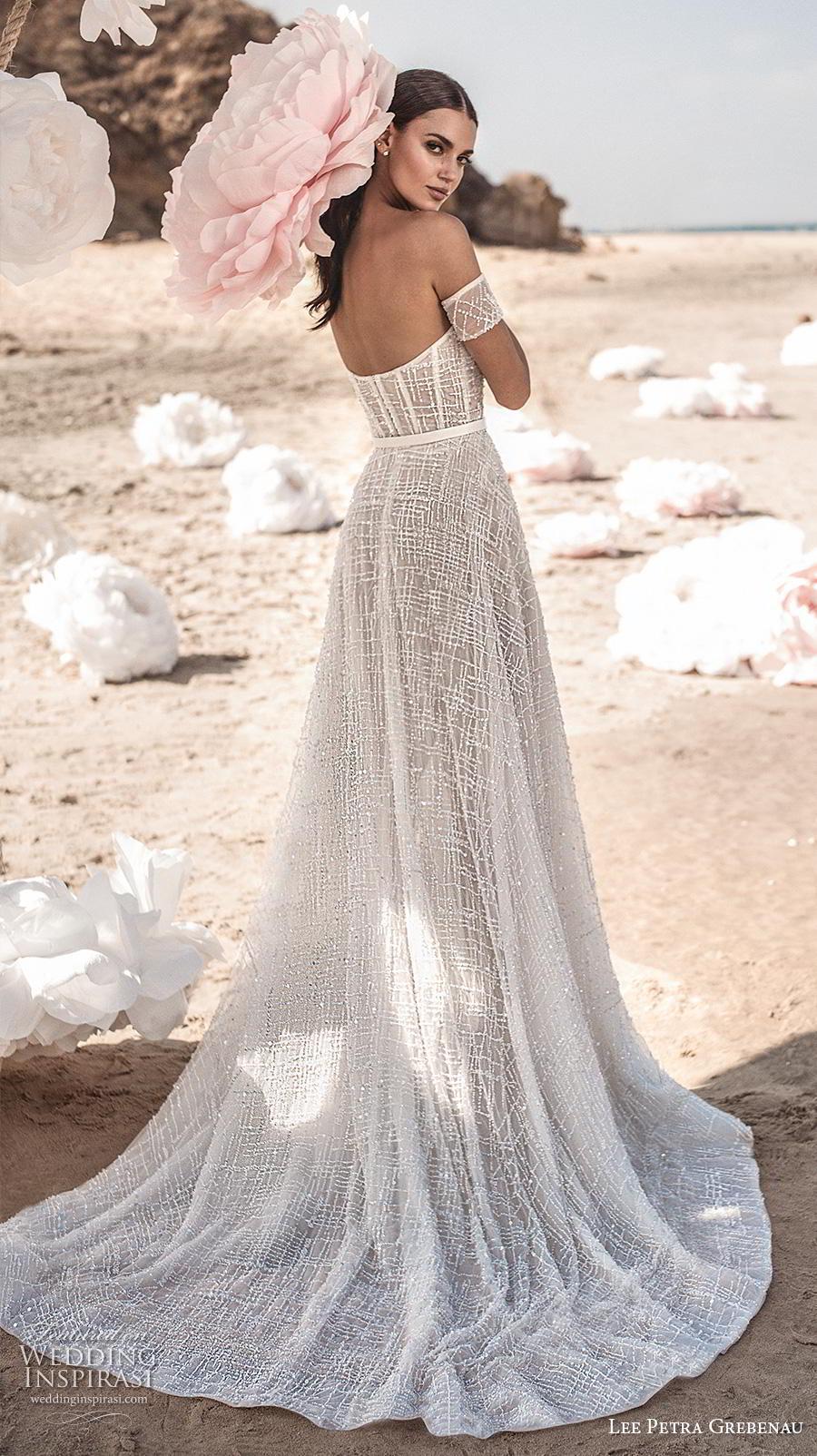 lee petra grebenau fall 2019 bridal strapless semi sweetheart neckline full embellishment bustier romantic soft a  line wedding dress mid back chapel train (7) bv