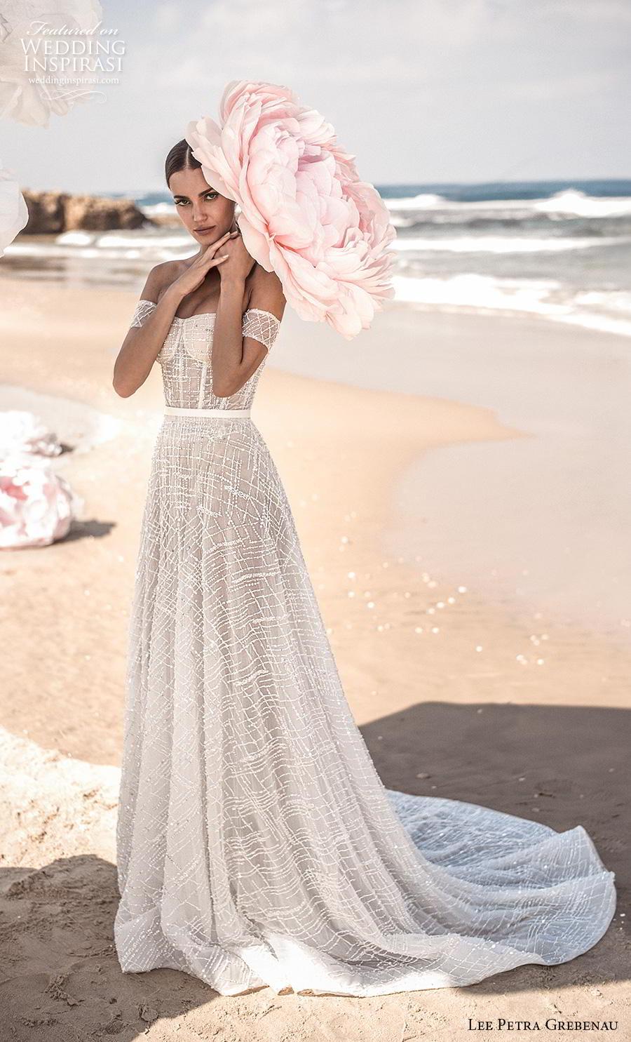 lee petra grebenau fall 2019 bridal strapless semi sweetheart neckline full embellishment bustier romantic soft a  line wedding dress mid back chapel train (7) mv