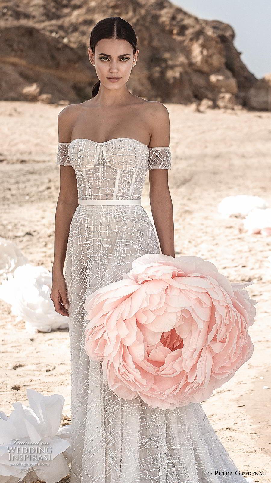 lee petra grebenau fall 2019 bridal strapless semi sweetheart neckline full embellishment bustier romantic soft a  line wedding dress mid back chapel train (7) zv