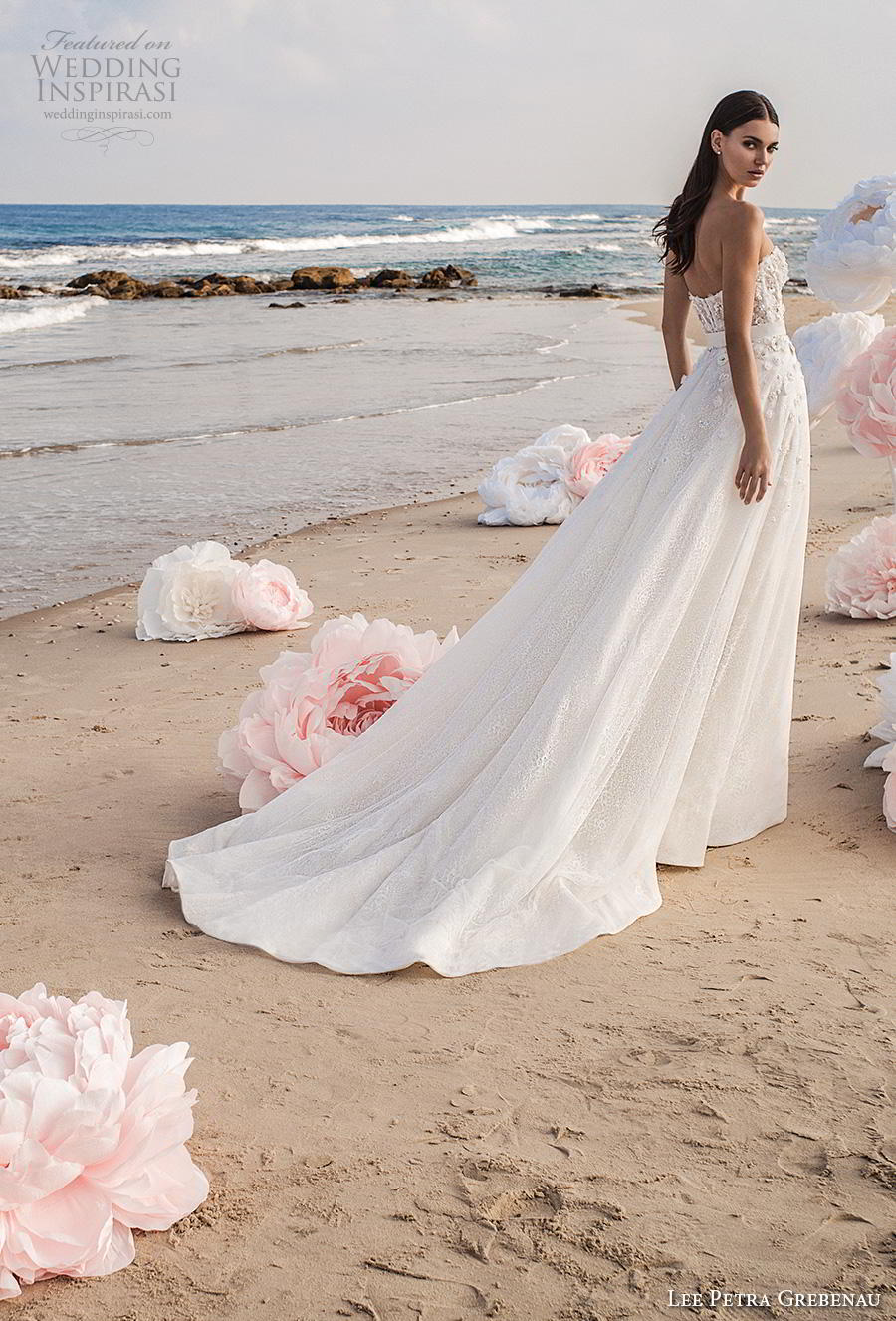 lee petra grebenau fall 2019 bridal strapless sweetheart neckline bustier full embellishment romantic a  line wedding dress overskirt mid back chapel train (3) bv