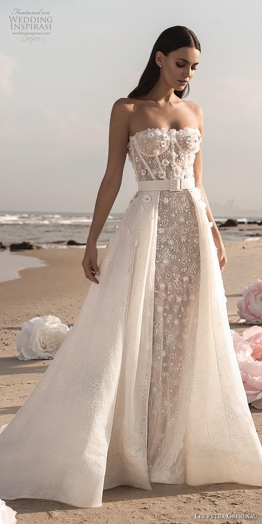 lee petra grebenau fall 2019 bridal strapless sweetheart neckline bustier full embellishment romantic a  line wedding dress overskirt mid back chapel train (3) lv