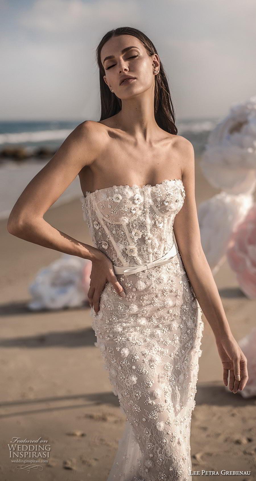 lee petra grebenau fall 2019 bridal strapless sweetheart neckline bustier full embellishment romantic fit and flare sheath wedding dress mid back chapel train (3) zv