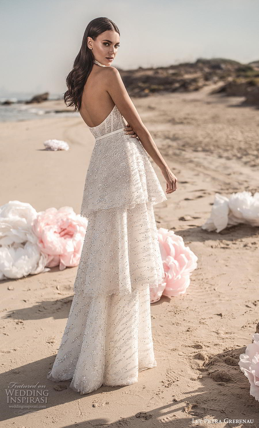 lee petra grebenau fall 2019 bridal strapless sweetheart neckline full embellishment layerd skirt glitter romantic modified a  line wedding dress backless sweep train (4) bv