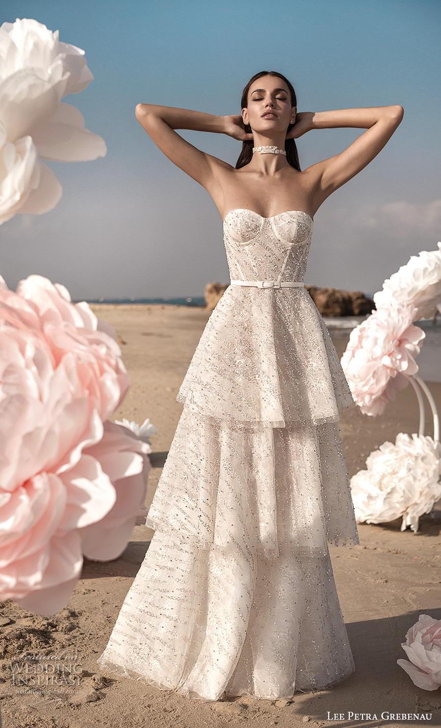 lee petra grebenau fall 2019 bridal strapless sweetheart neckline full embellishment layerd skirt glitter romantic modified a  line wedding dress backless sweep train (4) mv