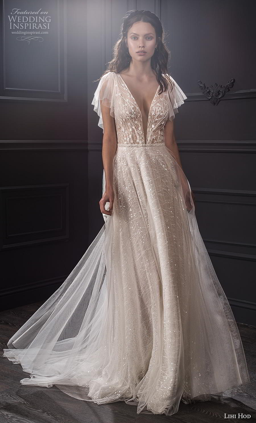 lihi hod spring 2020 bridal butterfly sleeves deep v neck heavily embellished bodice romantic soft a  line wedding dress medium train (6) mv