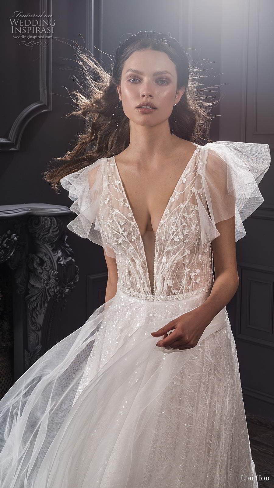 lihi hod spring 2020 bridal butterfly sleeves deep v neck heavily embellished bodice romantic soft a  line wedding dress medium train (6) zv