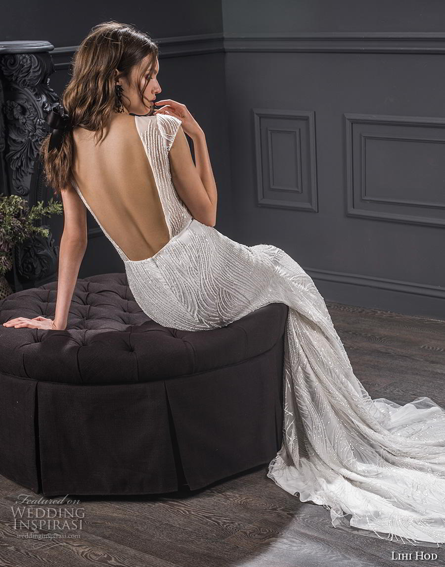 lihi hod spring 2020 bridal cap sleeves illusion bateau deep sweetheart neckline full embellishment elegant fit and flare sheath wedding dress backless low back chapel train (1) bv