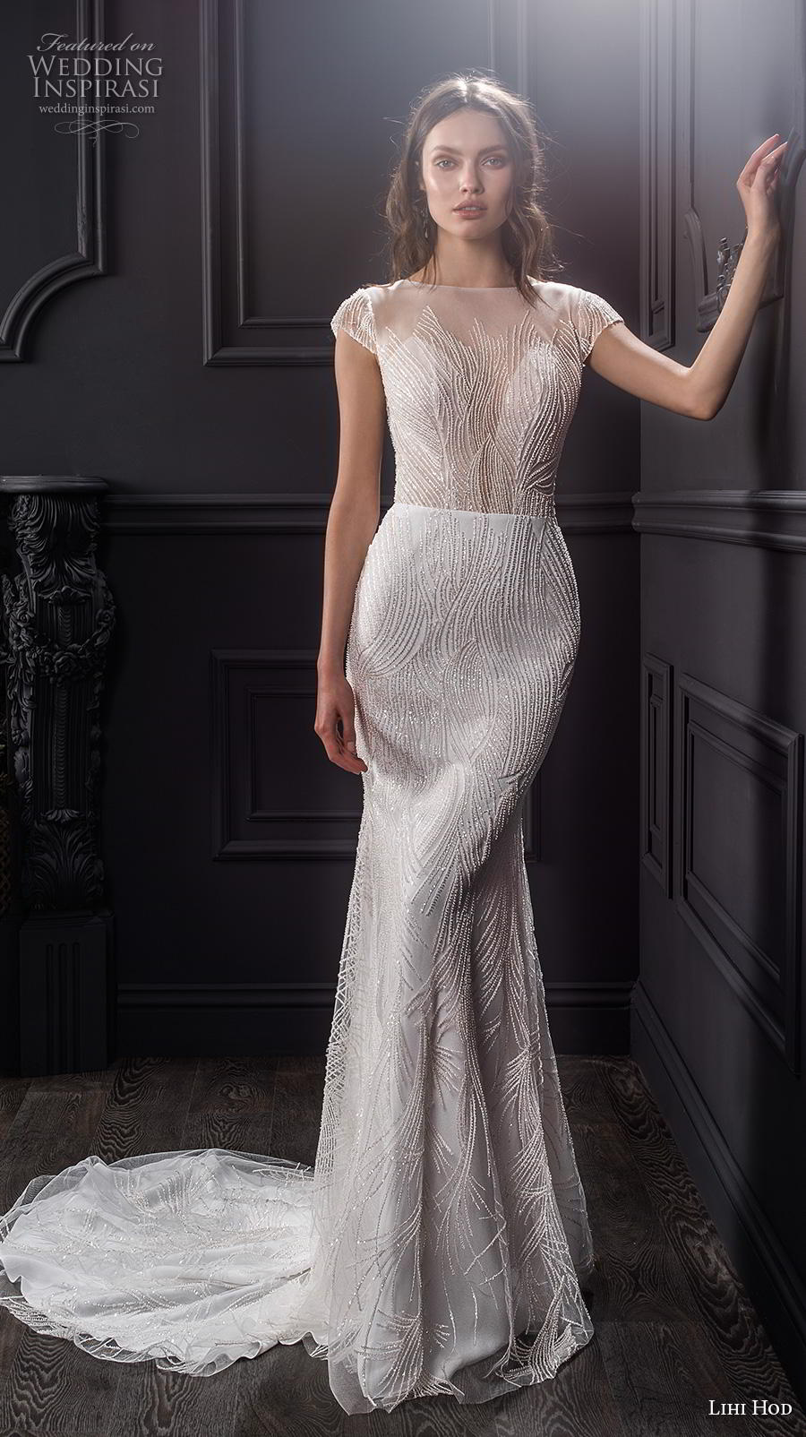 lihi hod spring 2020 bridal cap sleeves illusion bateau deep sweetheart neckline full embellishment elegant fit and flare sheath wedding dress backless low back chapel train (1) mv