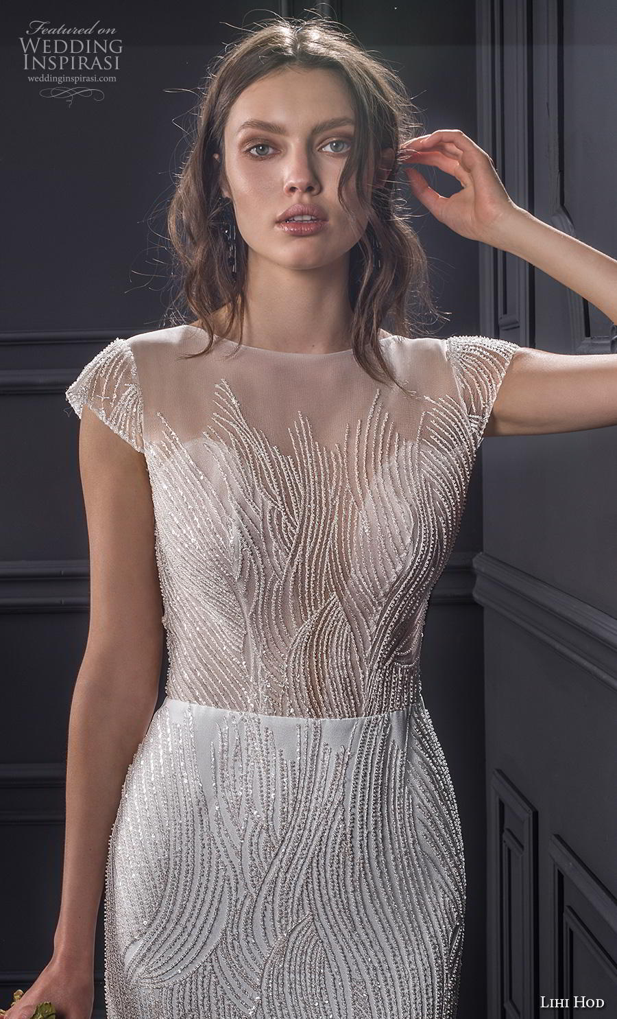 lihi hod spring 2020 bridal cap sleeves illusion bateau deep sweetheart neckline full embellishment elegant fit and flare sheath wedding dress backless low back chapel train (1) zv