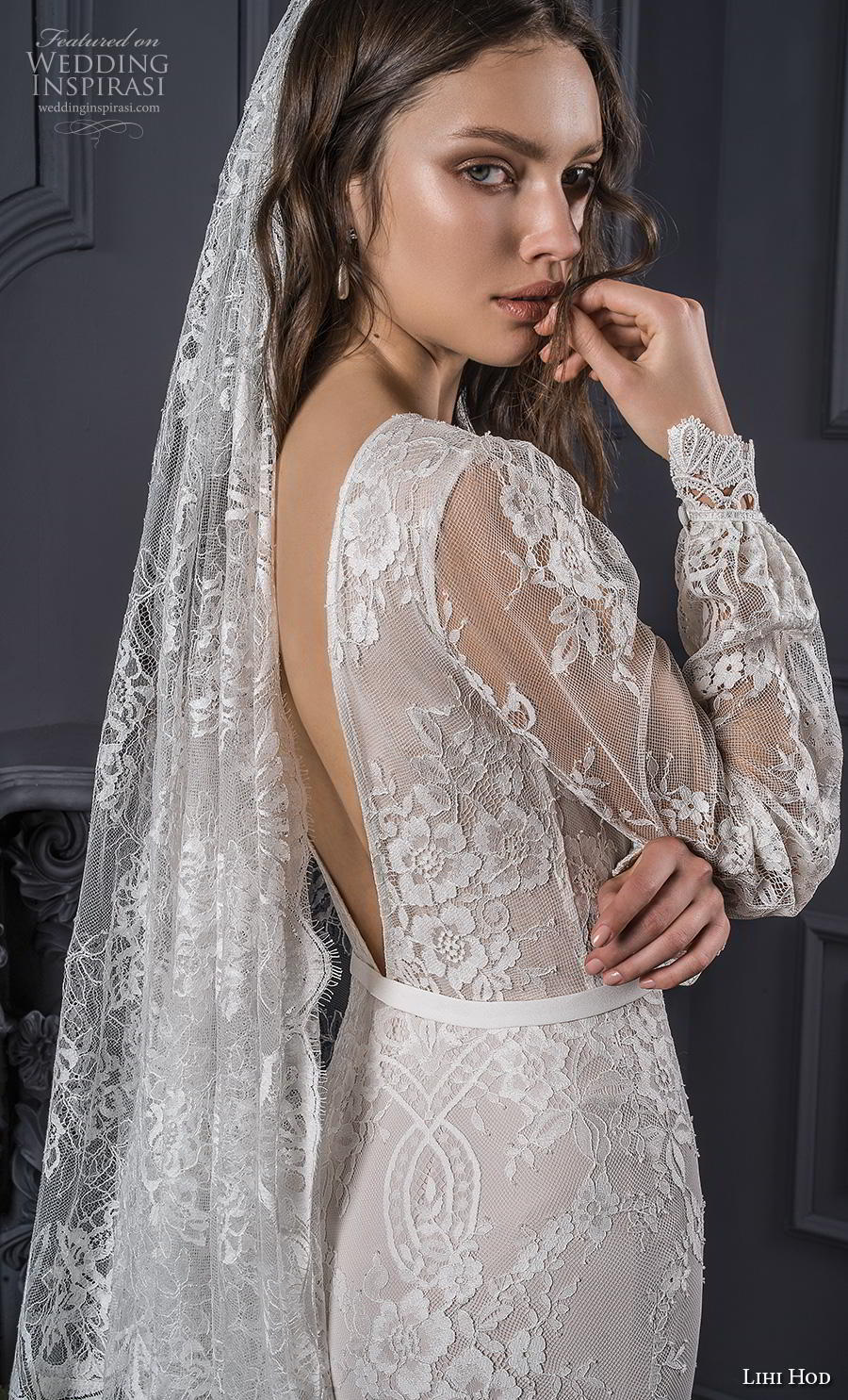 lihi hod spring 2020 bridal long bishop sleeves bateau neckline full embellishment bohemian sheath wedding dress backless low v back short train (3) zbv