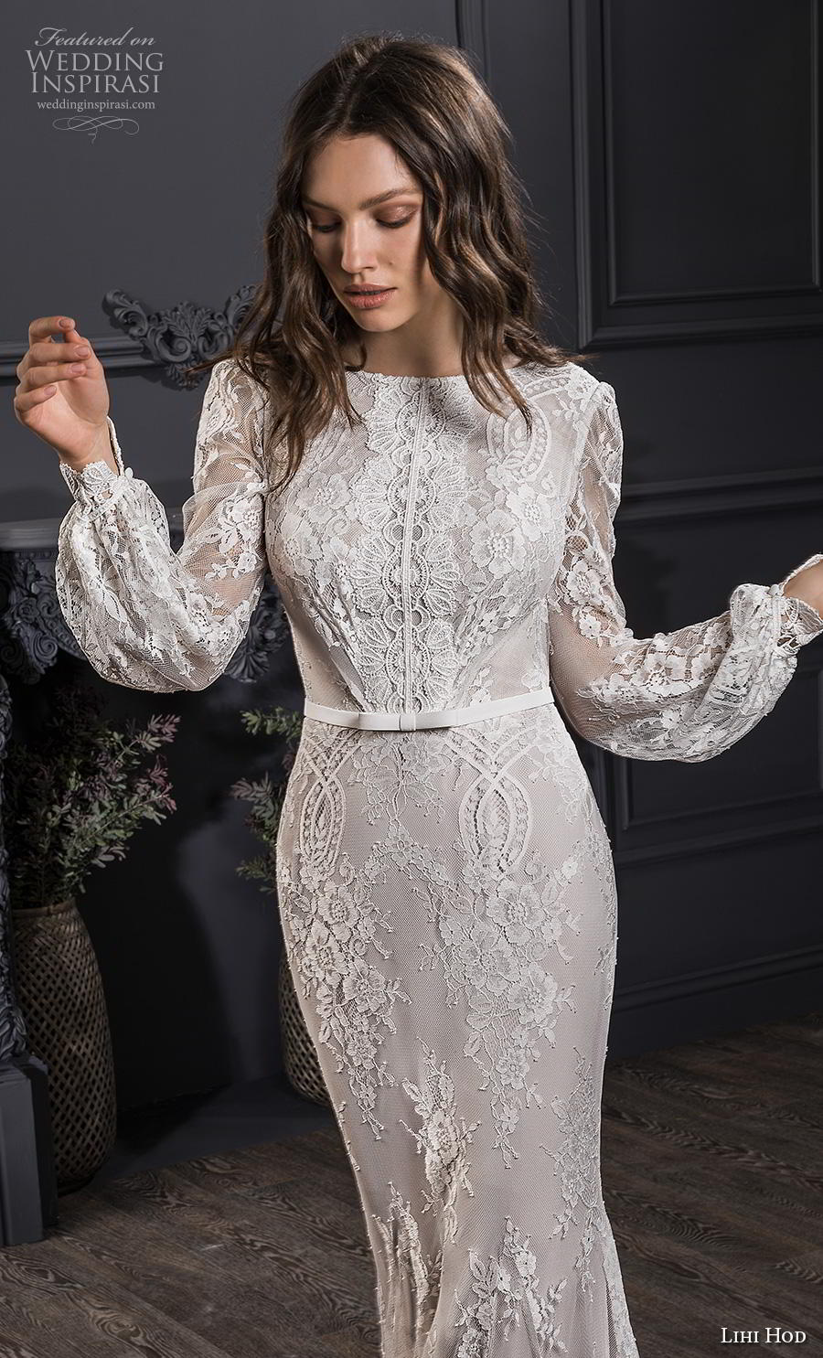 lihi hod spring 2020 bridal long bishop sleeves bateau neckline full embellishment bohemian sheath wedding dress backless low v back short train (3) zv