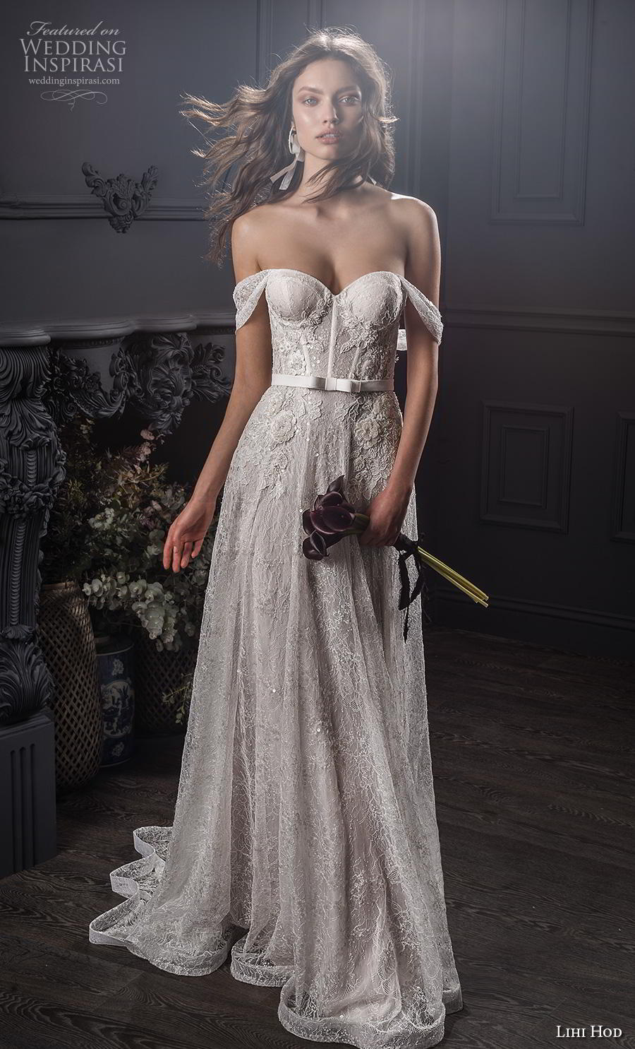 lihi hod spring 2020 bridal off the shoulder sweetheart neckline full embellishment bustier romantic soft a  line wedding dress medium train (8) mv