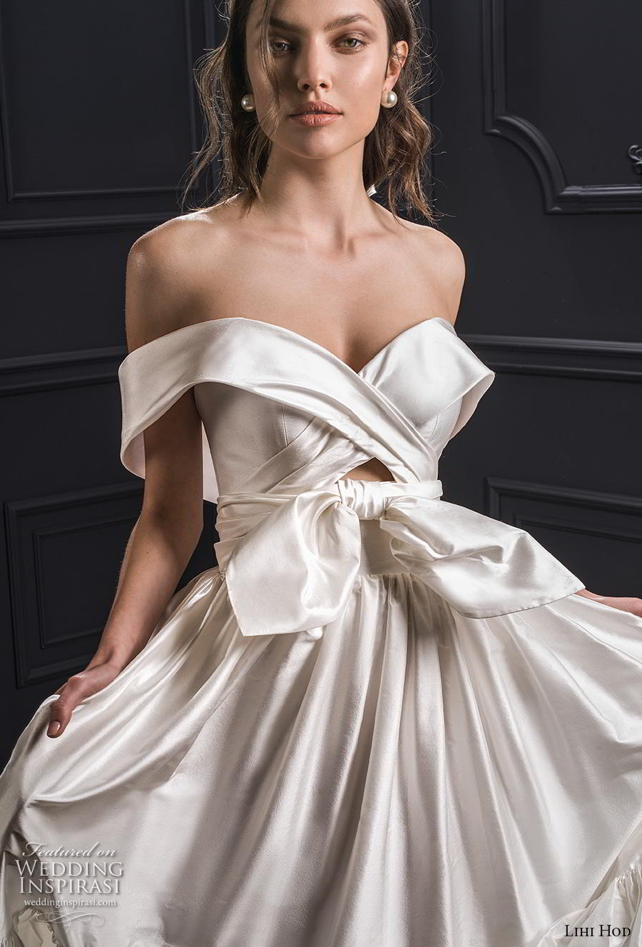 lihi hod spring 2020 bridal off the shoulder sweetheart neckline ruched bodice ruched skirt simple romantic ball gown a  line wedding dress short train (2) zv