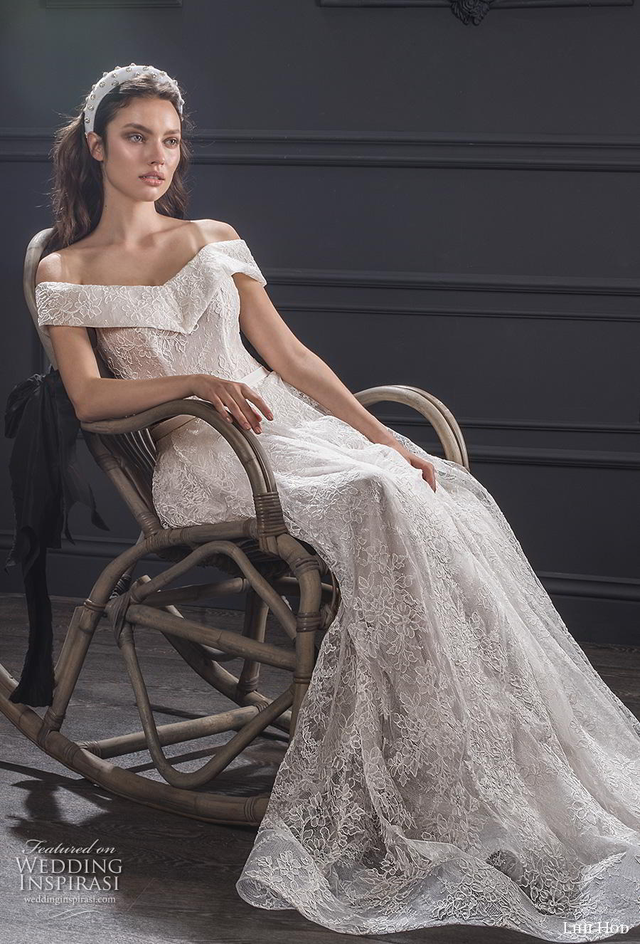 lihi hod spring 2020 bridal off the shoulder v neck full embellishment romantic a  line wedding dress medium train (9) mv