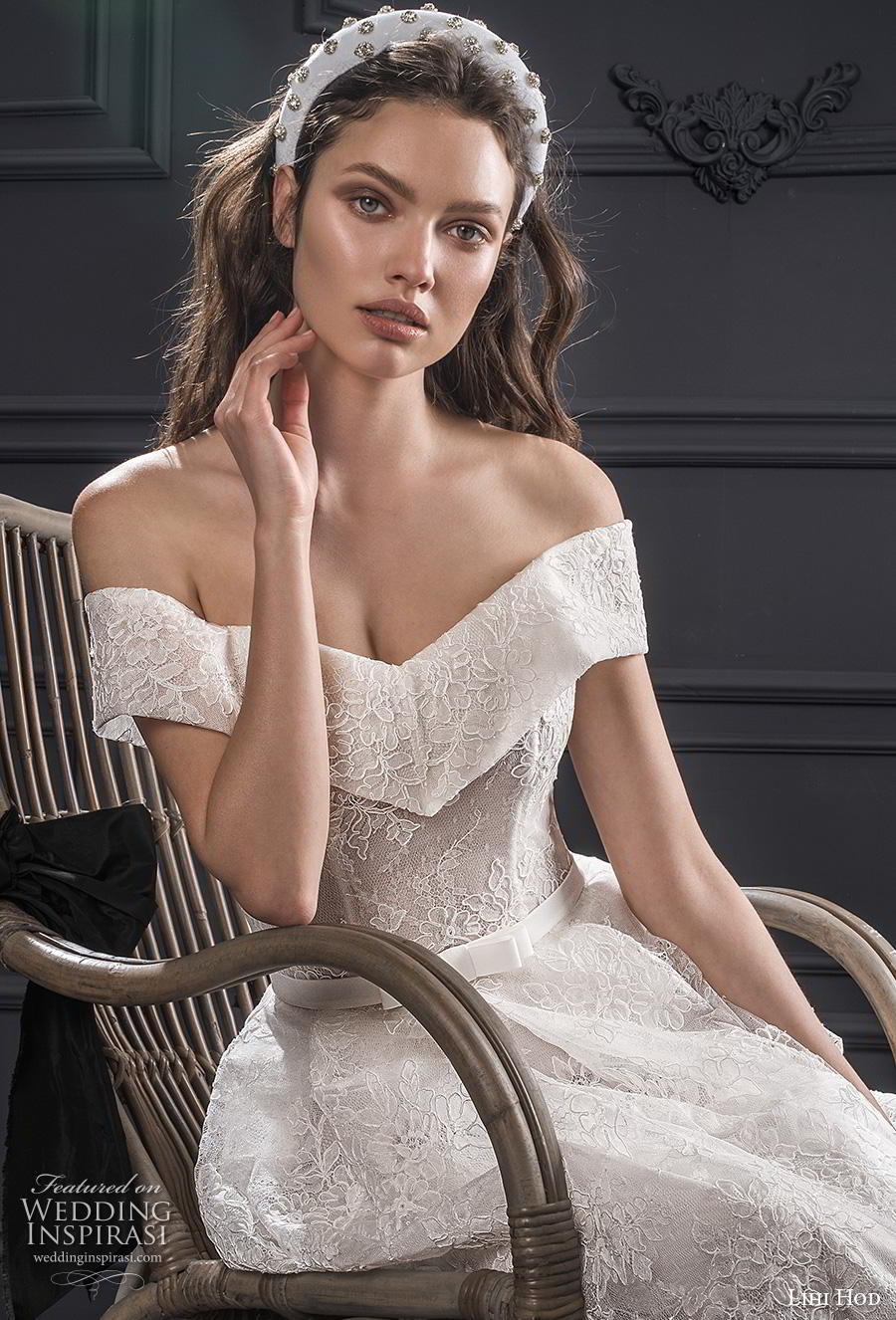 lihi hod spring 2020 bridal off the shoulder v neck full embellishment romantic a  line wedding dress medium train (9) zv