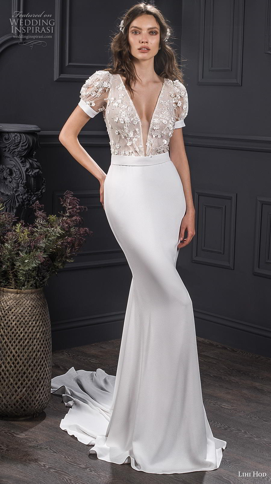 lihi hod spring 2020 bridal short puff sleeves deep v neck heavily embellshed bodice elegant sheath wedding dress medium train (4) mv