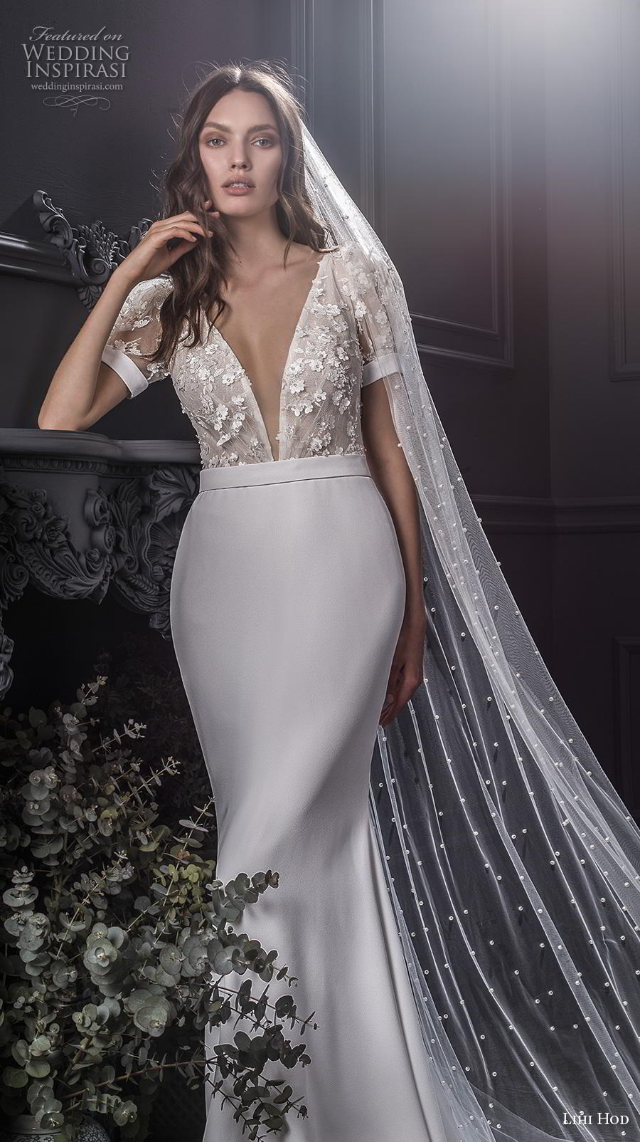 lihi hod spring 2020 bridal short puff sleeves deep v neck heavily embellshed bodice elegant sheath wedding dress medium train (4) zv