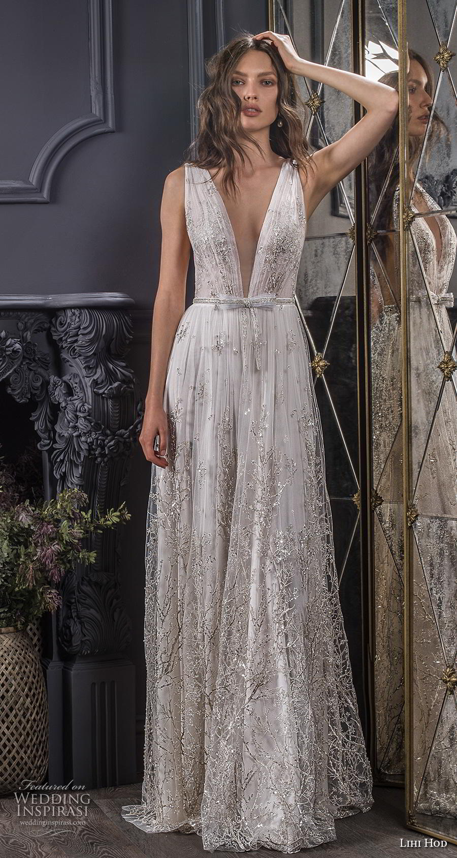 lihi hod spring 2020 bridal sleeveless deep v neck full embellishment open side romantic sexy soft a  line wedding dress sweep train (5) mv