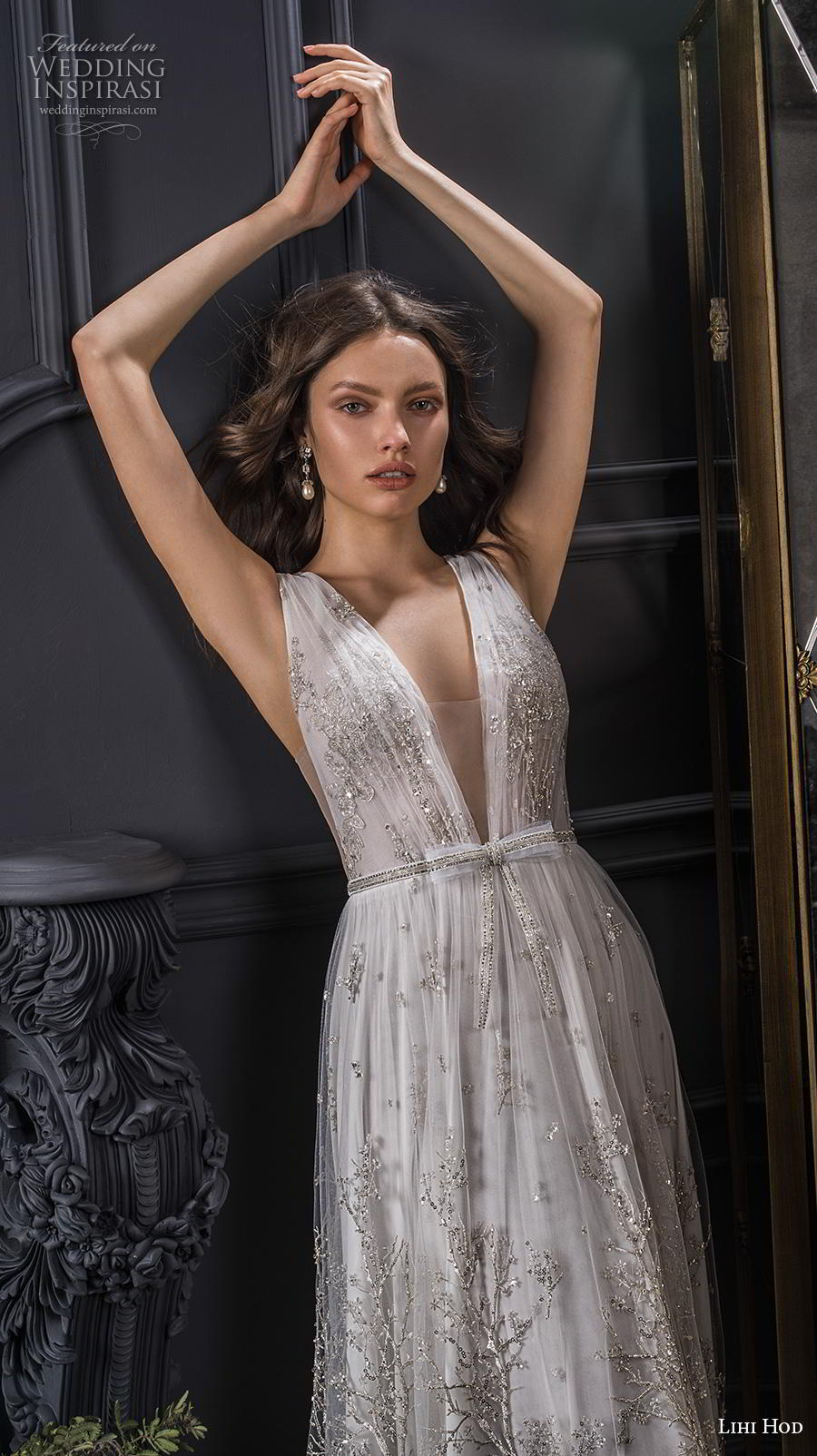 lihi hod spring 2020 bridal sleeveless deep v neck full embellishment open side romantic sexy soft a  line wedding dress sweep train (5) zv