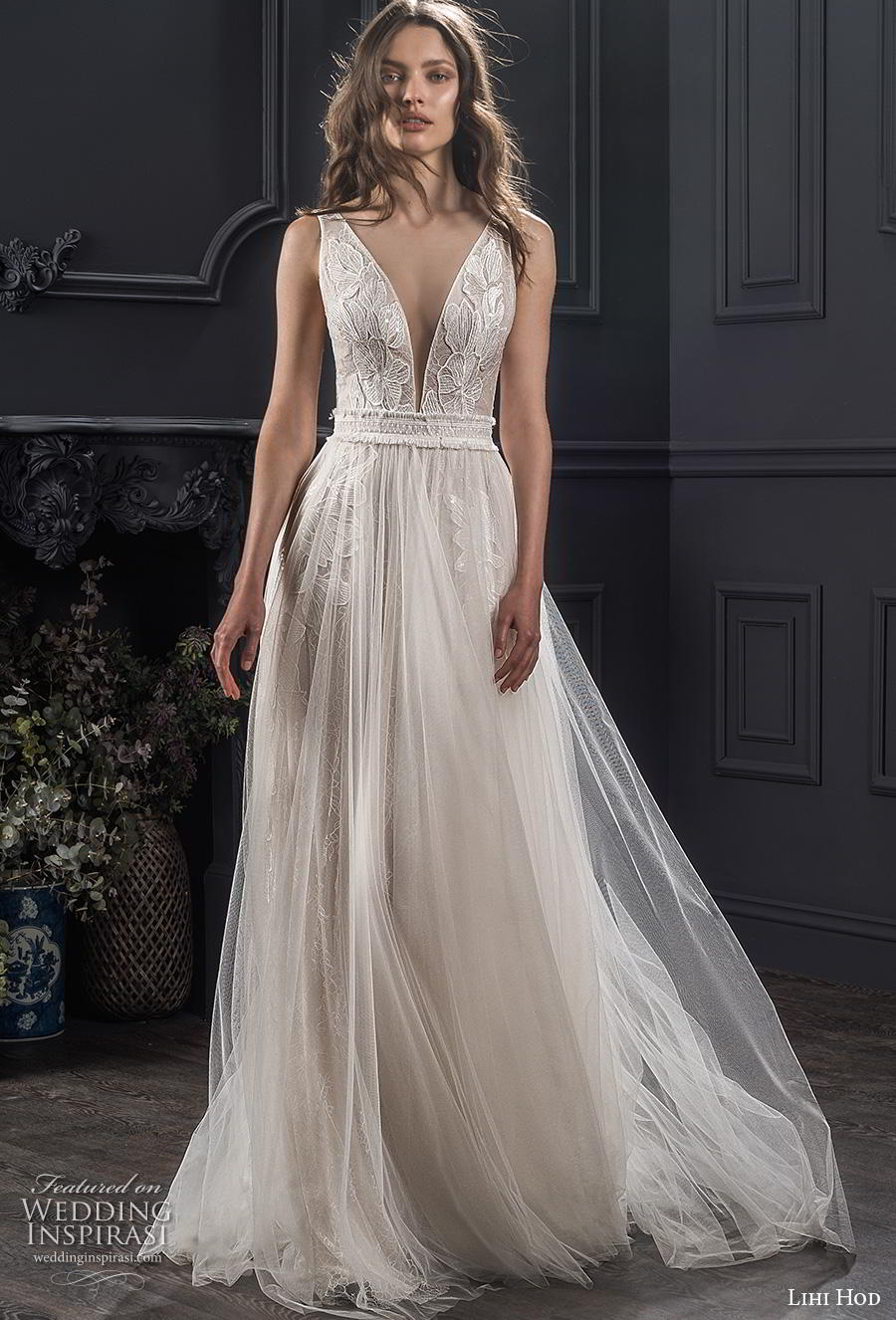 lihi hod spring 2020 bridal sleeveless deep v neck heavily embellished bodice romantic soft a  line wedding dress (10) mv