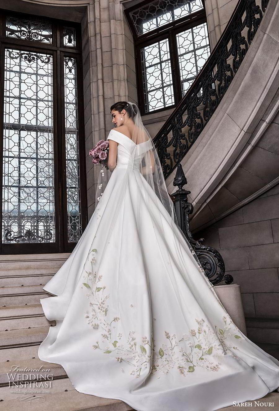 sareh nouri s2020 bridal cap sleeves v neck wrap over simple minimalist elegant princess a  line wedding dress mid back royal train (1) bv