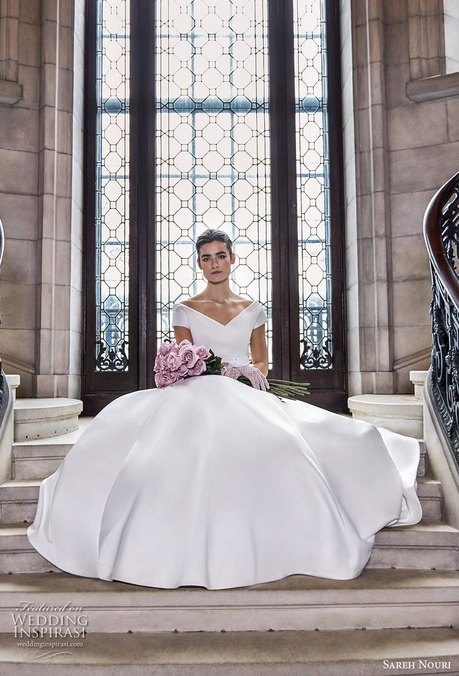 sareh nouri s2020 bridal cap sleeves v neck wrap over simple minimalist elegant princess a  line wedding dress mid back royal train (1) mv