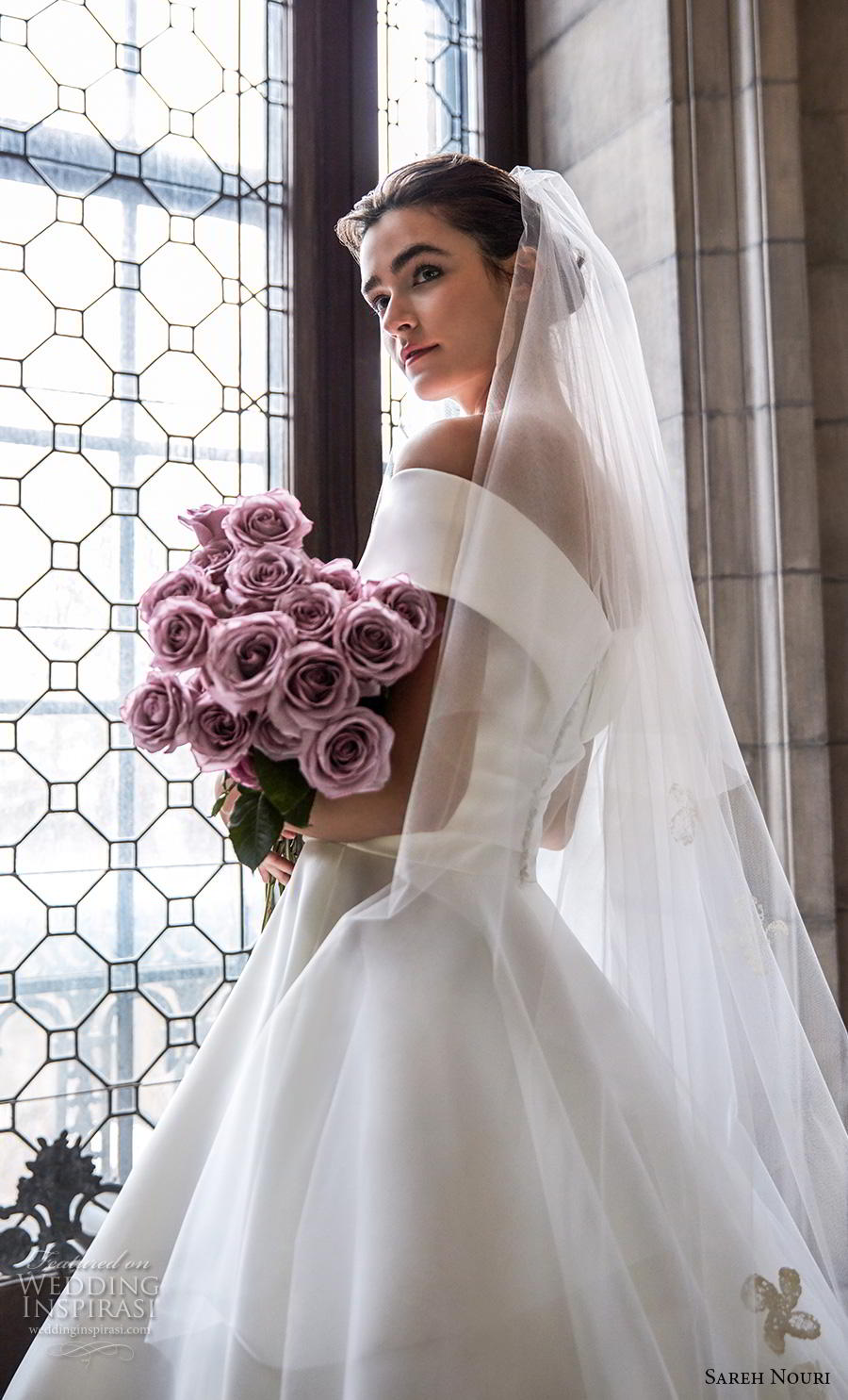 sareh nouri s2020 bridal cap sleeves v neck wrap over simple minimalist elegant princess a  line wedding dress mid back royal train (1) zbv