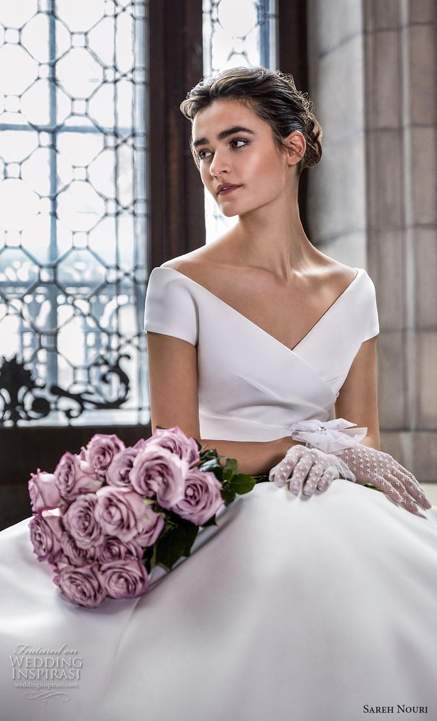 sareh nouri s2020 bridal cap sleeves v neck wrap over simple minimalist elegant princess a  line wedding dress mid back royal train (1) zv