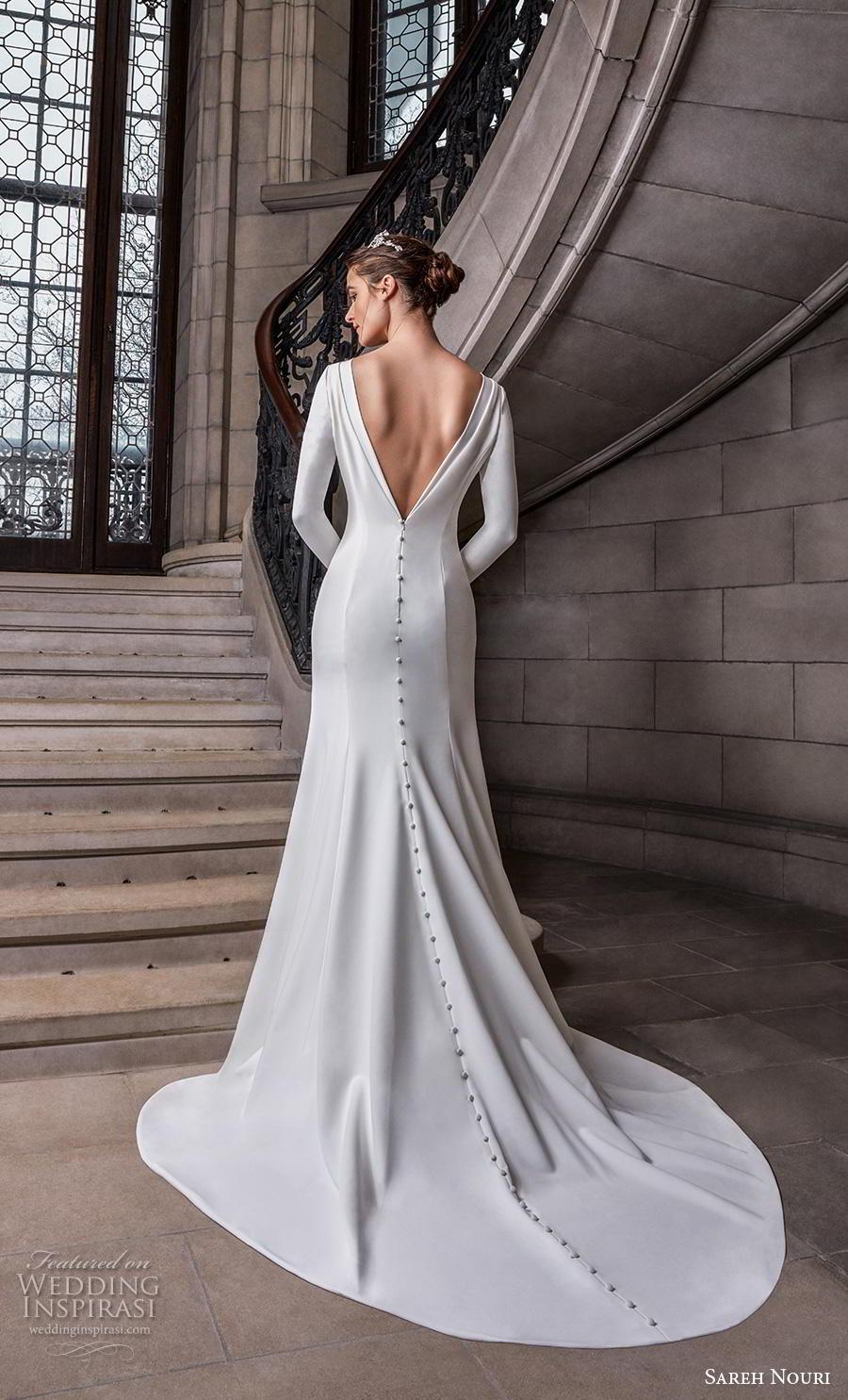 sareh nouri s2020 bridal long sleeves bateau simple minimalist elegant modified a  line wedding dress v back chapel train (12) bv
