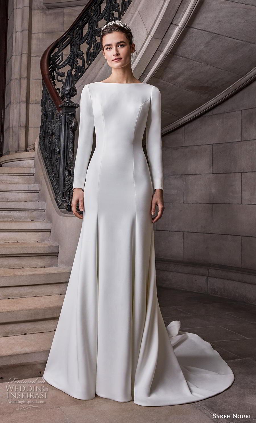 sareh nouri s2020 bridal long sleeves bateau simple minimalist elegant modified a  line wedding dress v back chapel train (12) mv