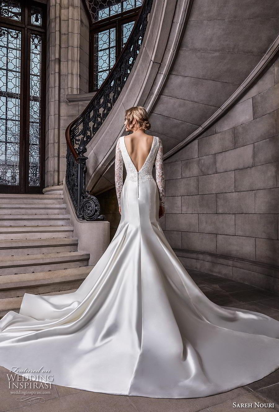 sareh nouri s2020 bridal long sleeves v neck heavily embellished bodice satin elegant trumpet wedding dress backless v back chapel train (3) bv
