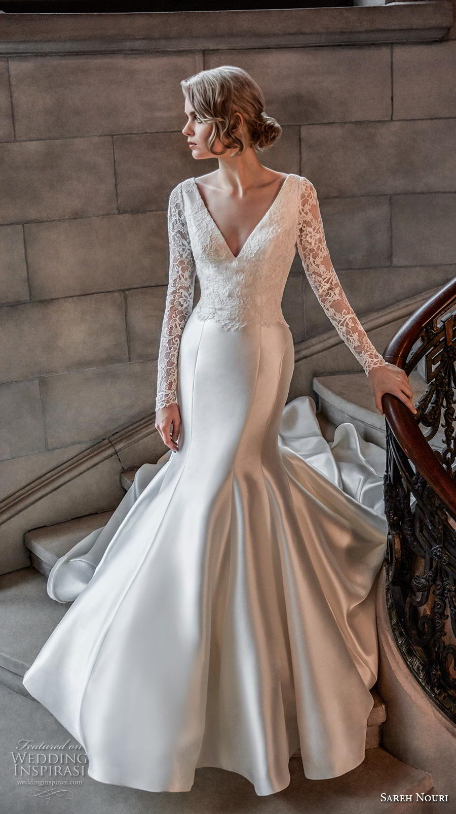 sareh nouri s2020 bridal long sleeves v neck heavily embellished bodice satin elegant trumpet wedding dress backless v back chapel train (3) mv