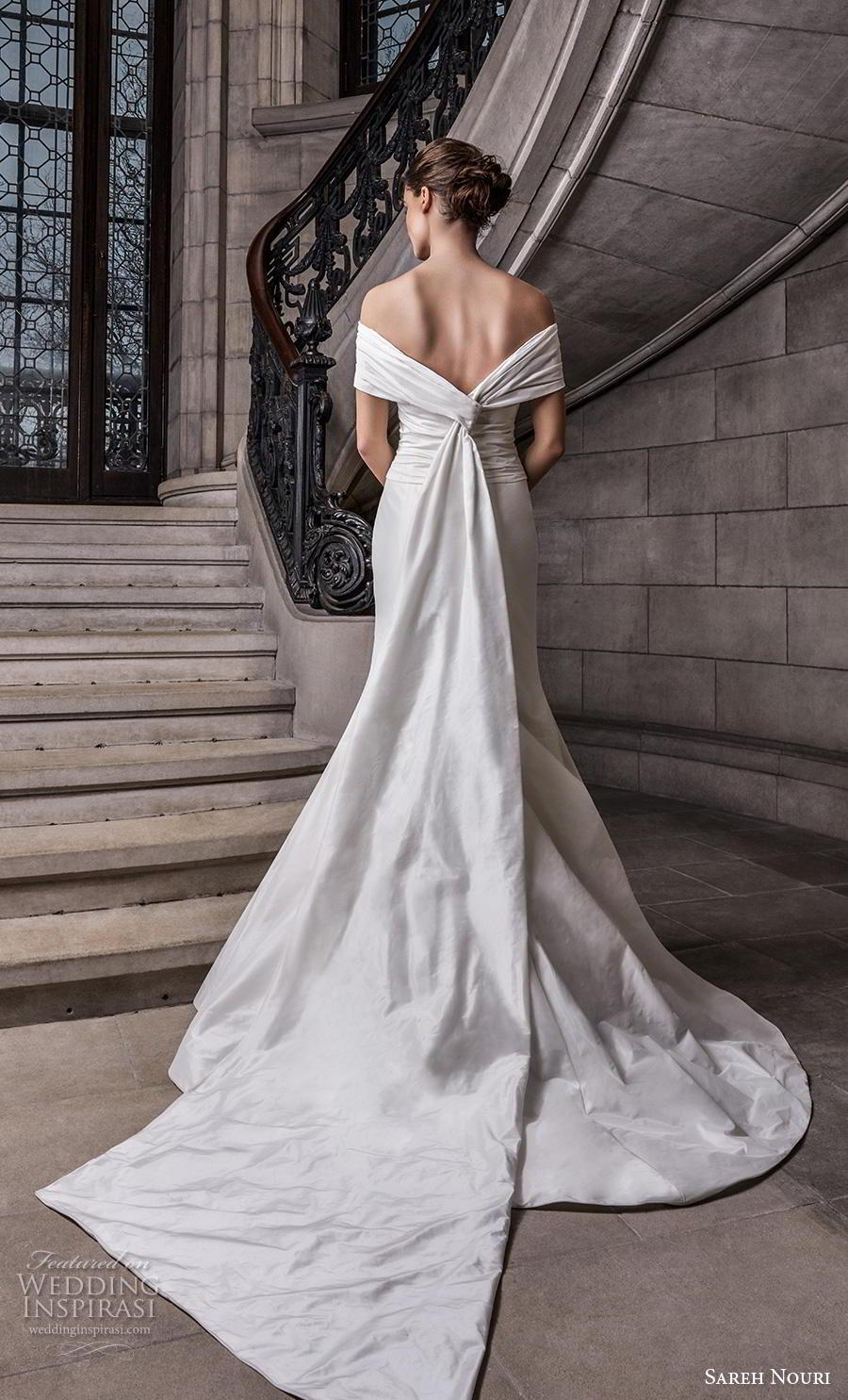 sareh nouri s2020 bridal off the shoulder pleated ruched bodice simple minimalist elegant trumpet wedding dress mid  back chapel train (8) bv