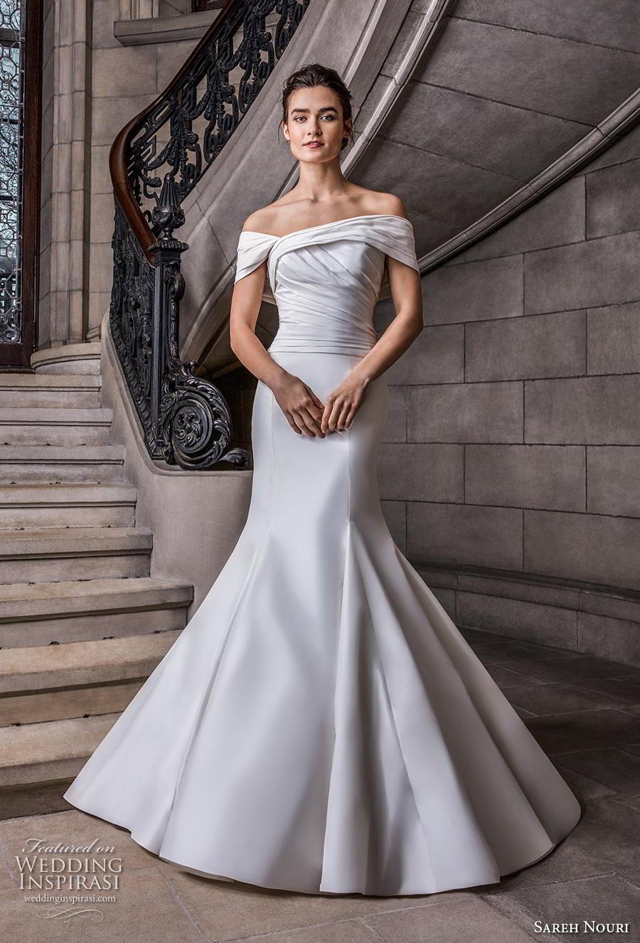 sareh nouri s2020 bridal off the shoulder pleated ruched bodice simple minimalist elegant trumpet wedding dress mid  back chapel train (8) mv