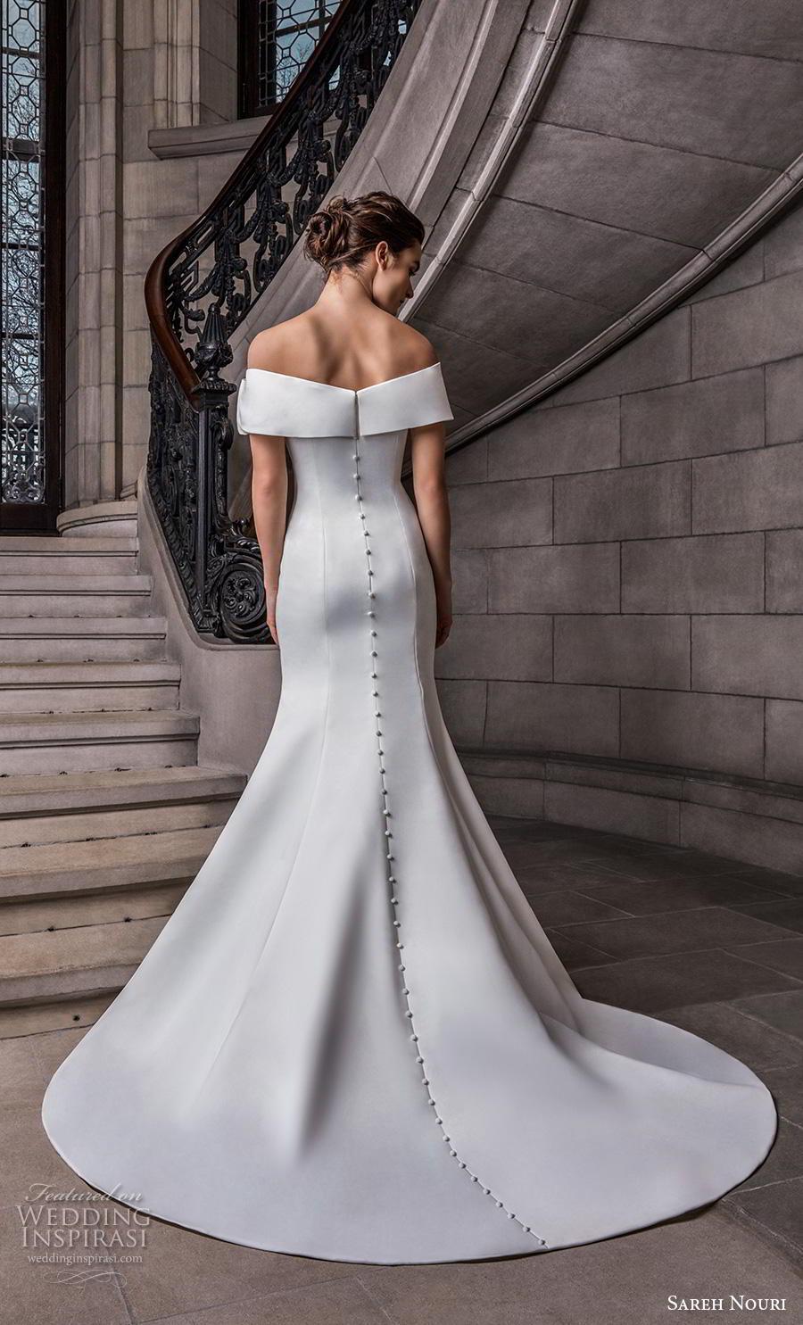 sareh nouri s2020 bridal off the shoulder straight across neckline simple minimalist elegant fit and flare wedding dress mid back chapel train (5) bv